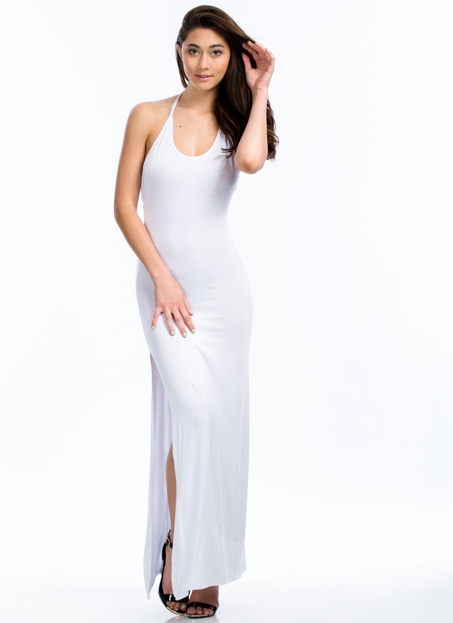 Will Beg 4 Leg Halter Maxi Dress WHITE
