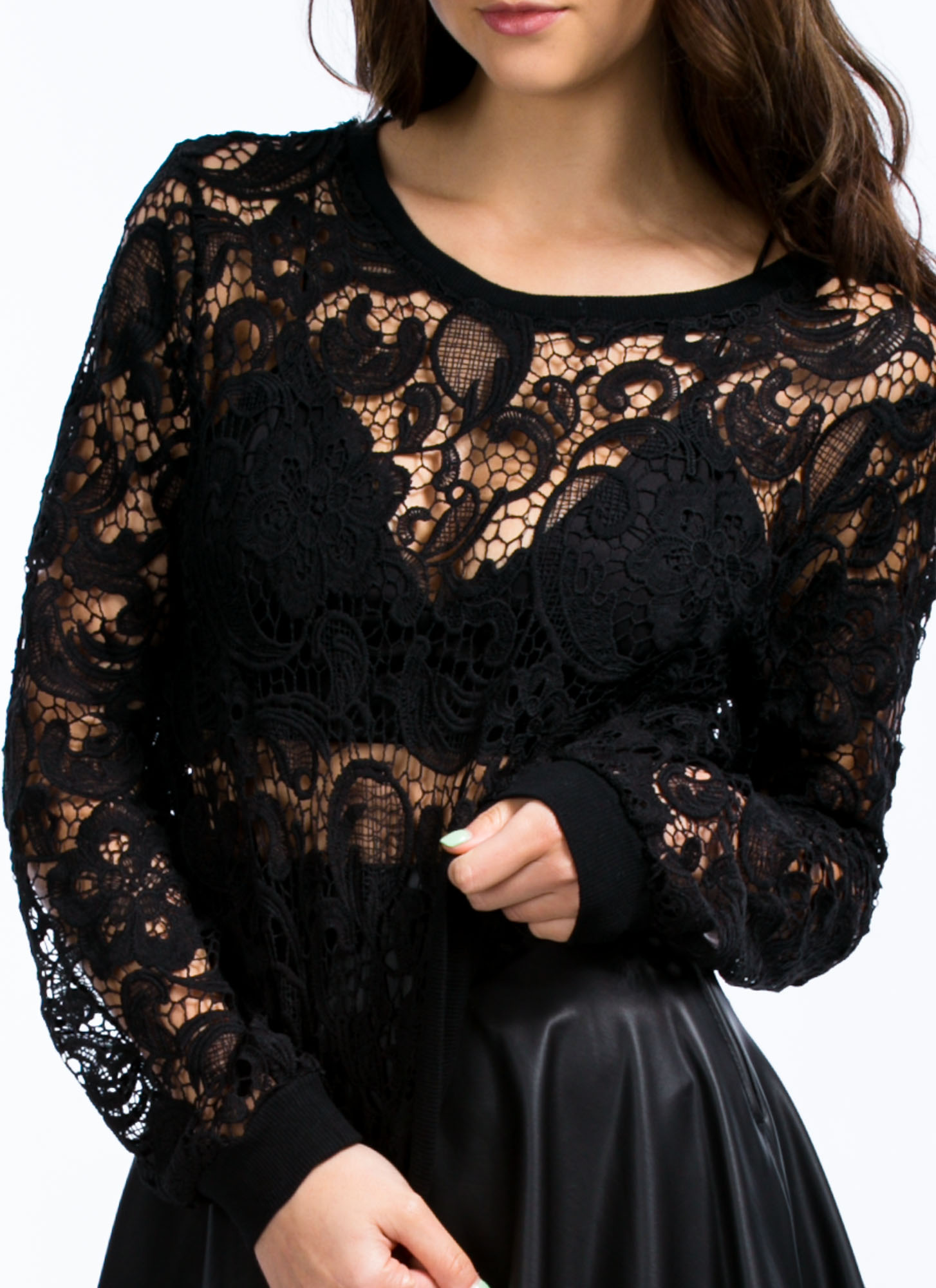 Sheer Floral Crochet Top BLACK