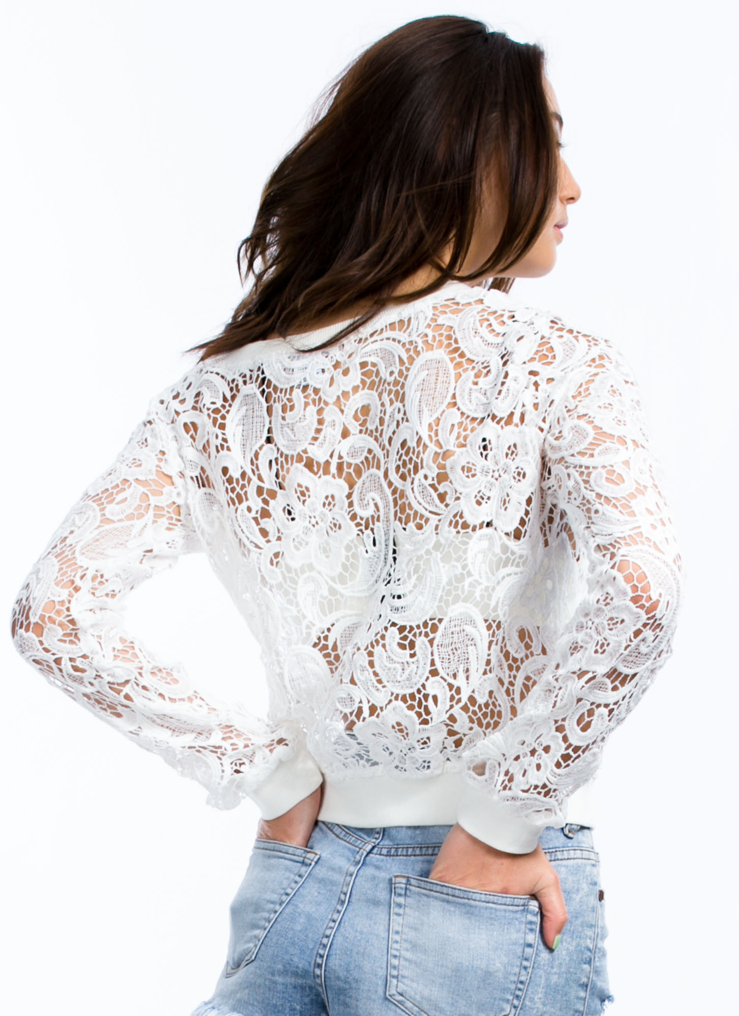 Sheer Floral Crochet Top WHITE