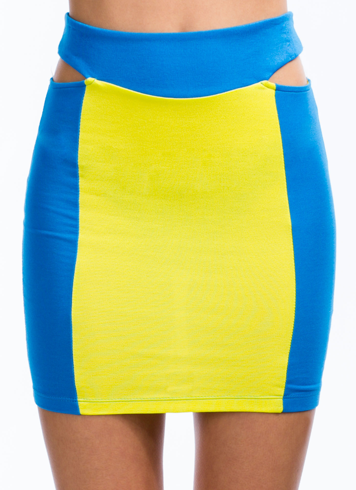 Colorblock Talk Cut-Out Mini Skirt BLUEYELLOW