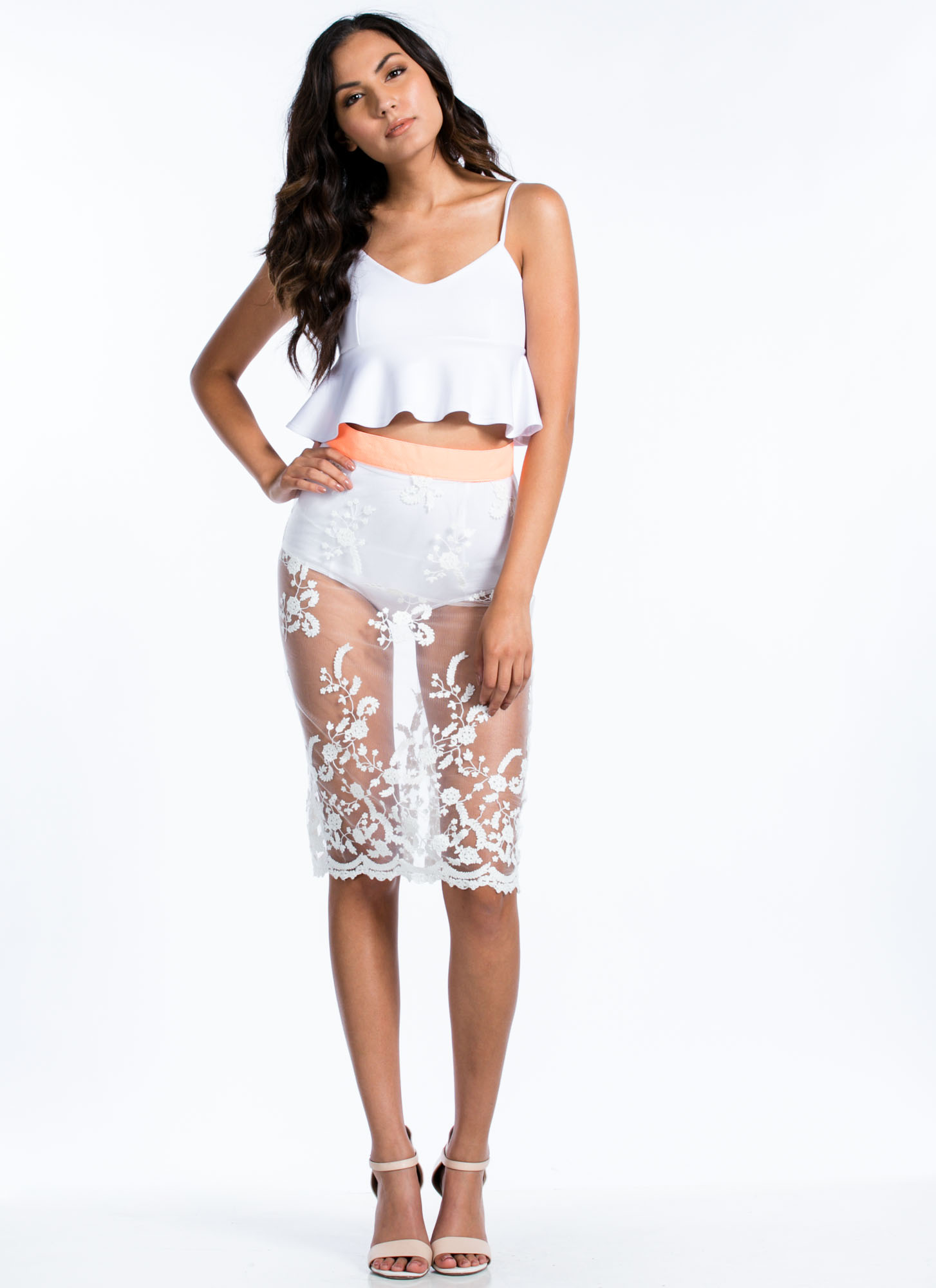 Sheer Thing Floral Lace Midi Skirt WHITE