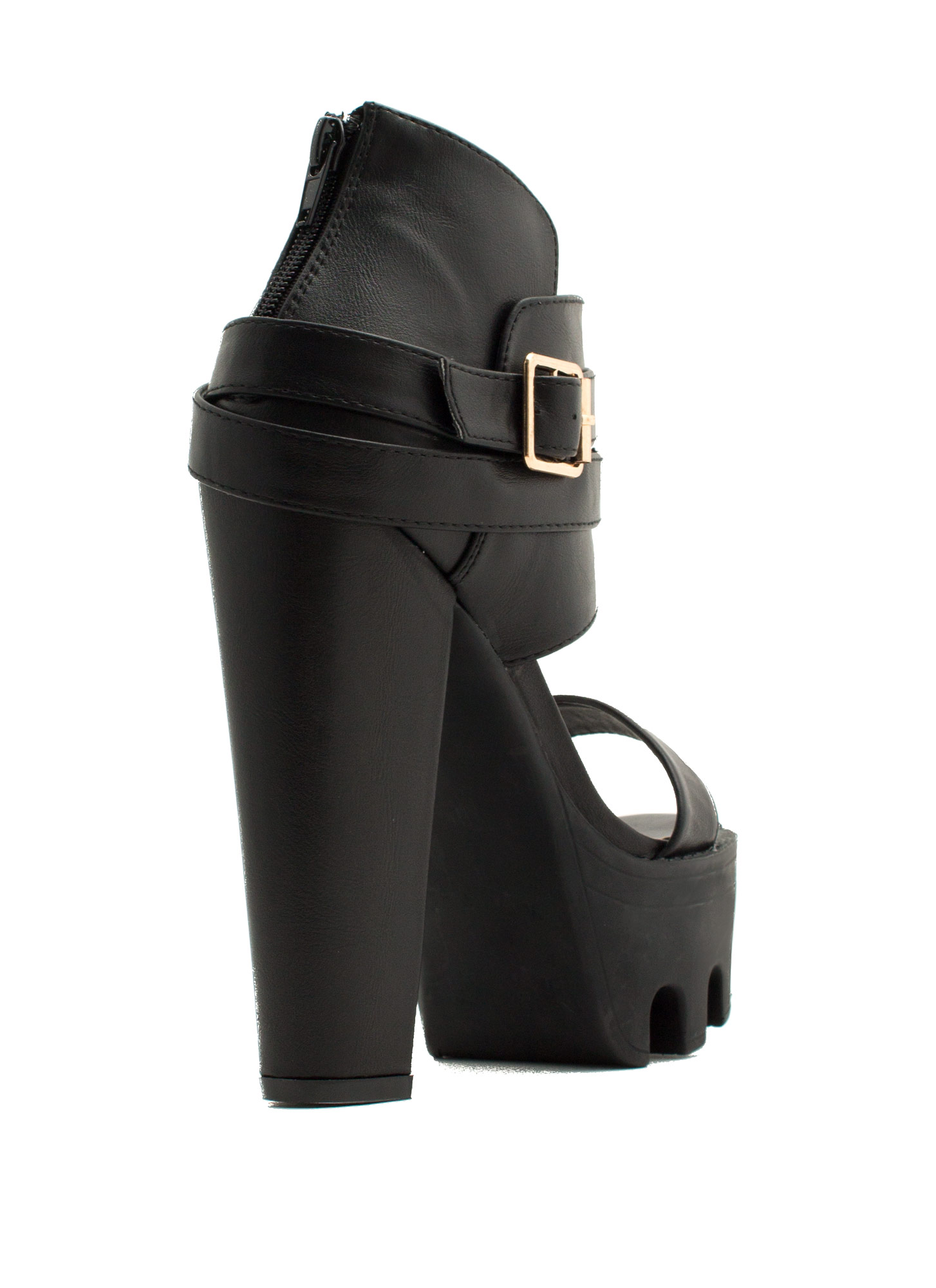 Rugged N Chic Single-Strap Heels BLACK