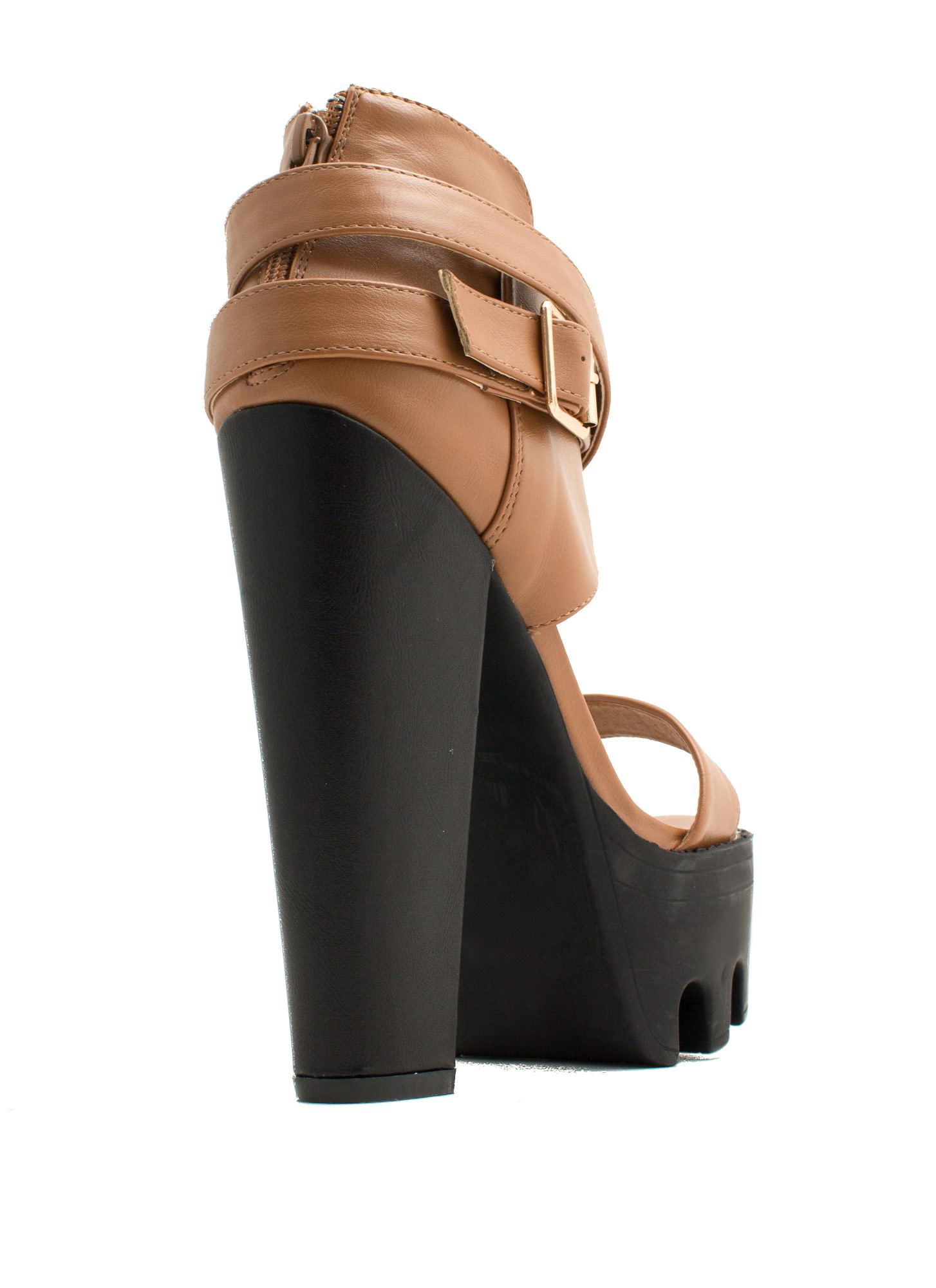Rugged N Chic Single-Strap Heels WHISKY
