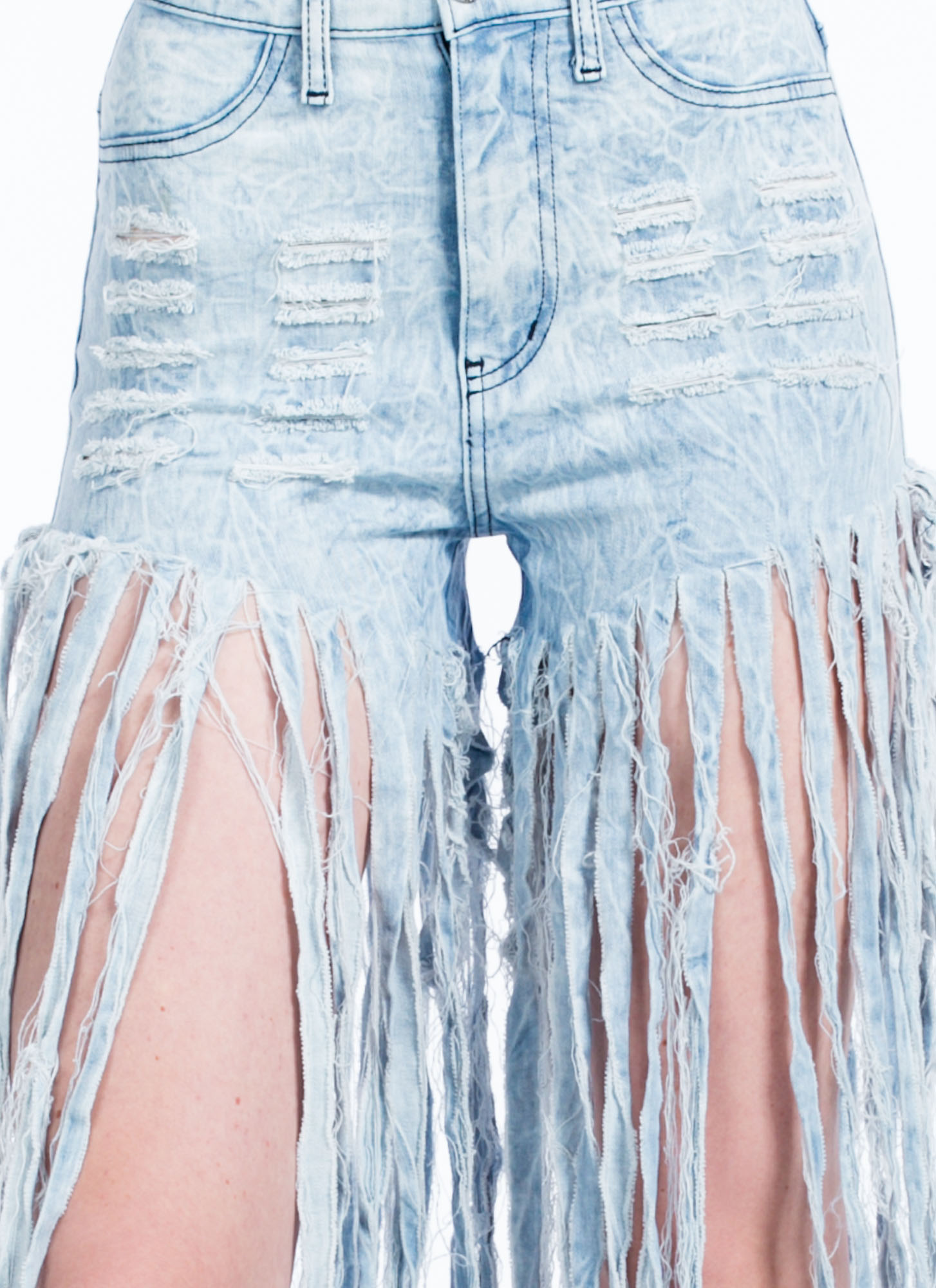 Pants Me Shredded Fringe Jean Shorts LTBLUE
