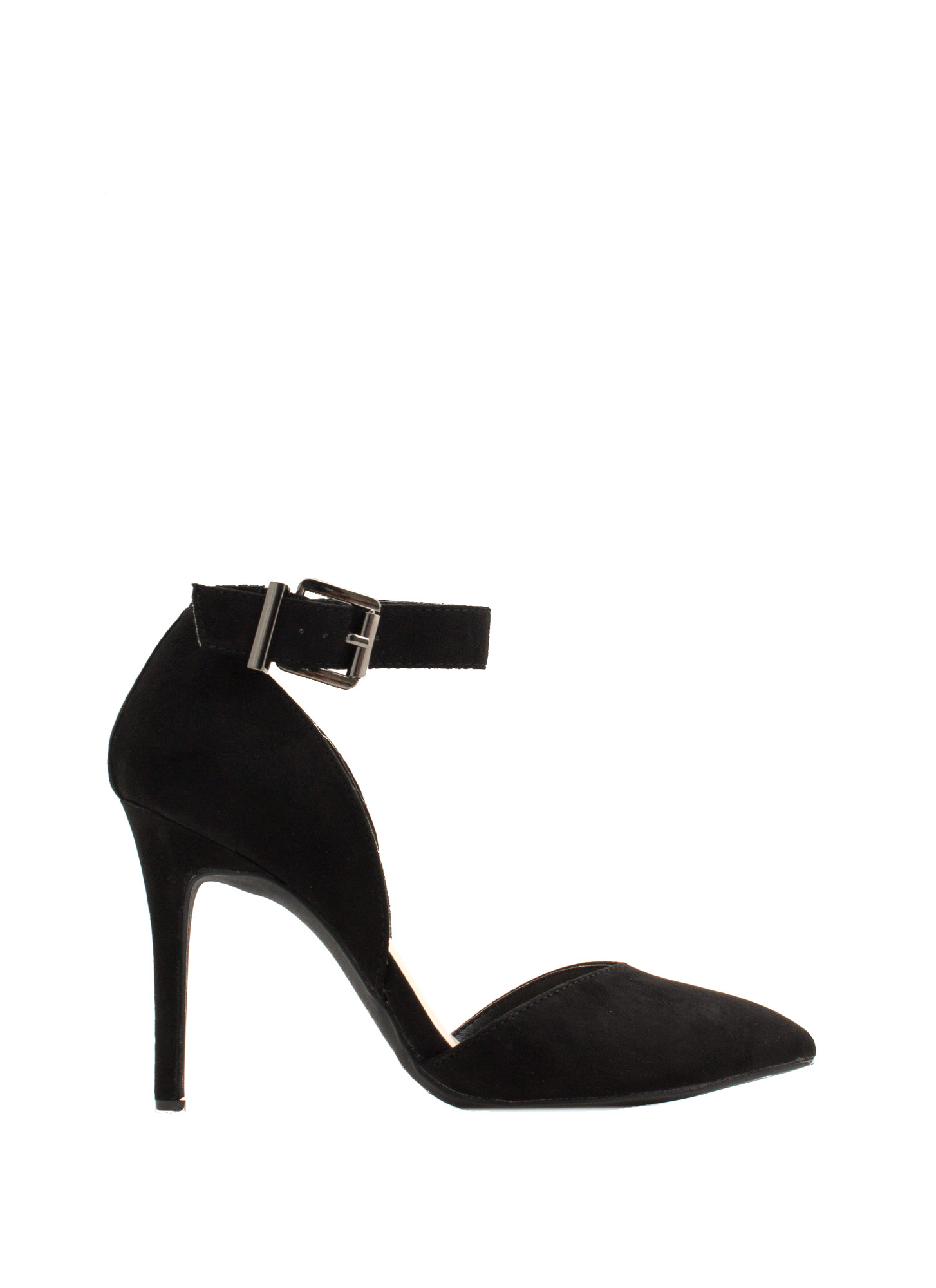 Fancy-Free Faux Suede Heels BLACK