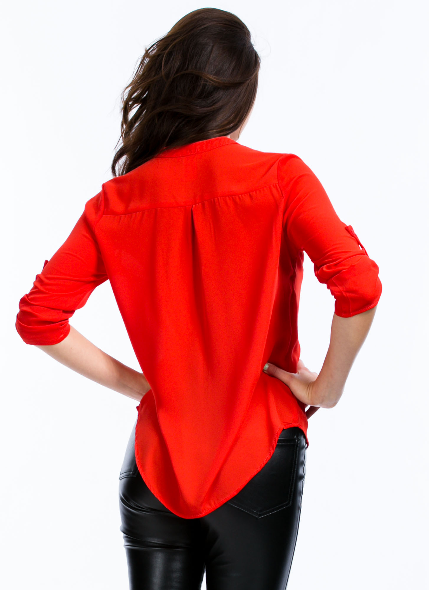 Let's Roll Up Blouse RED