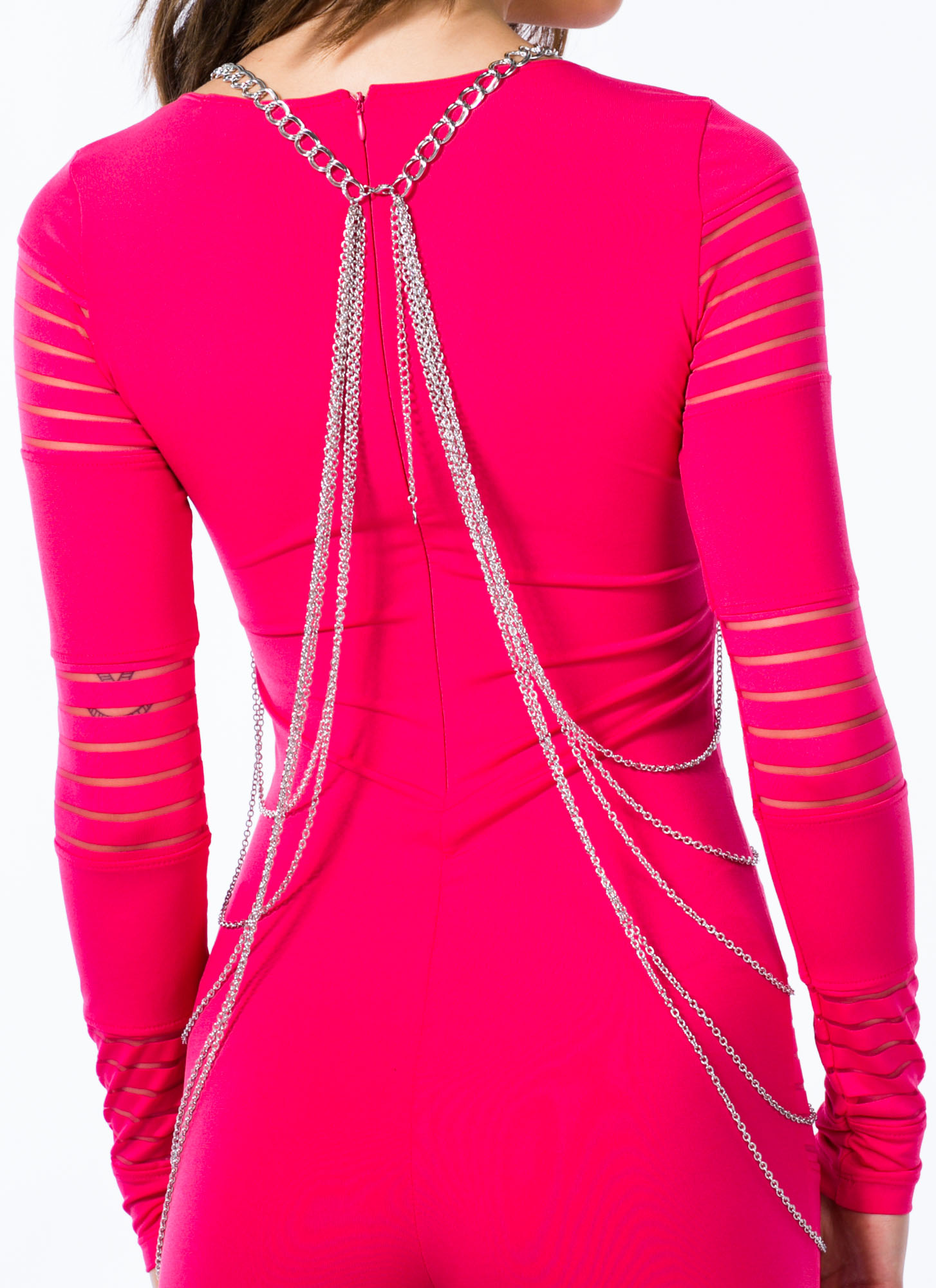 Double Link Draped Body Chain SILVER