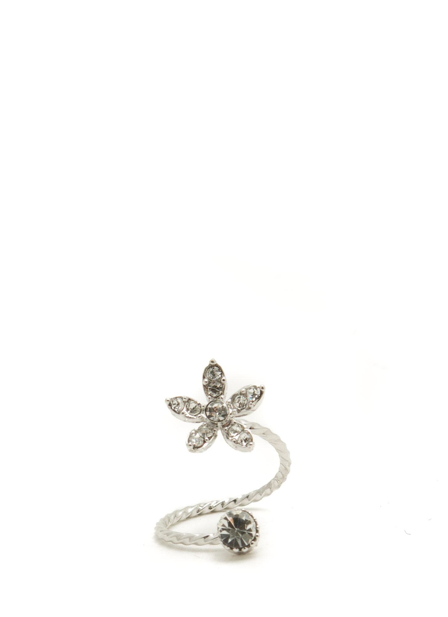 Jeweled Daisy Twisted Midi Ring SILVER