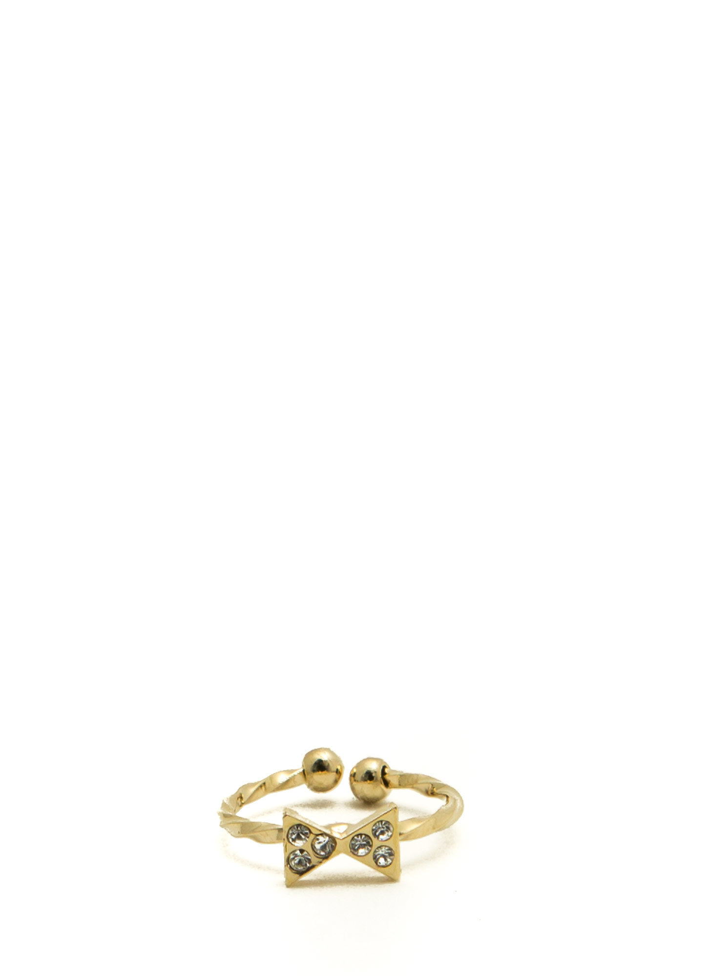 Jeweled Bowtie Twisted Midi Ring GOLD