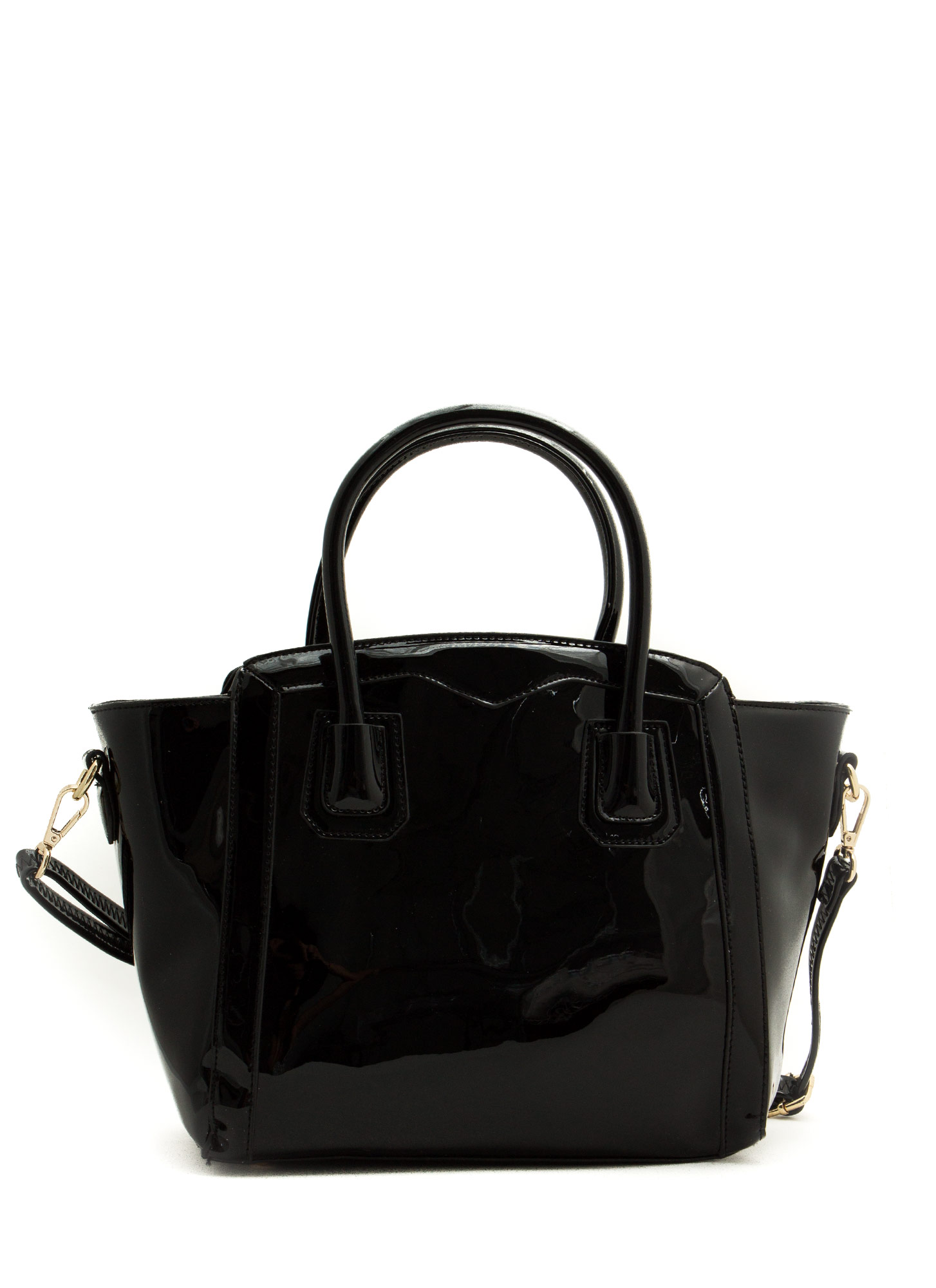Flared Faux Patent Handbag BLACK