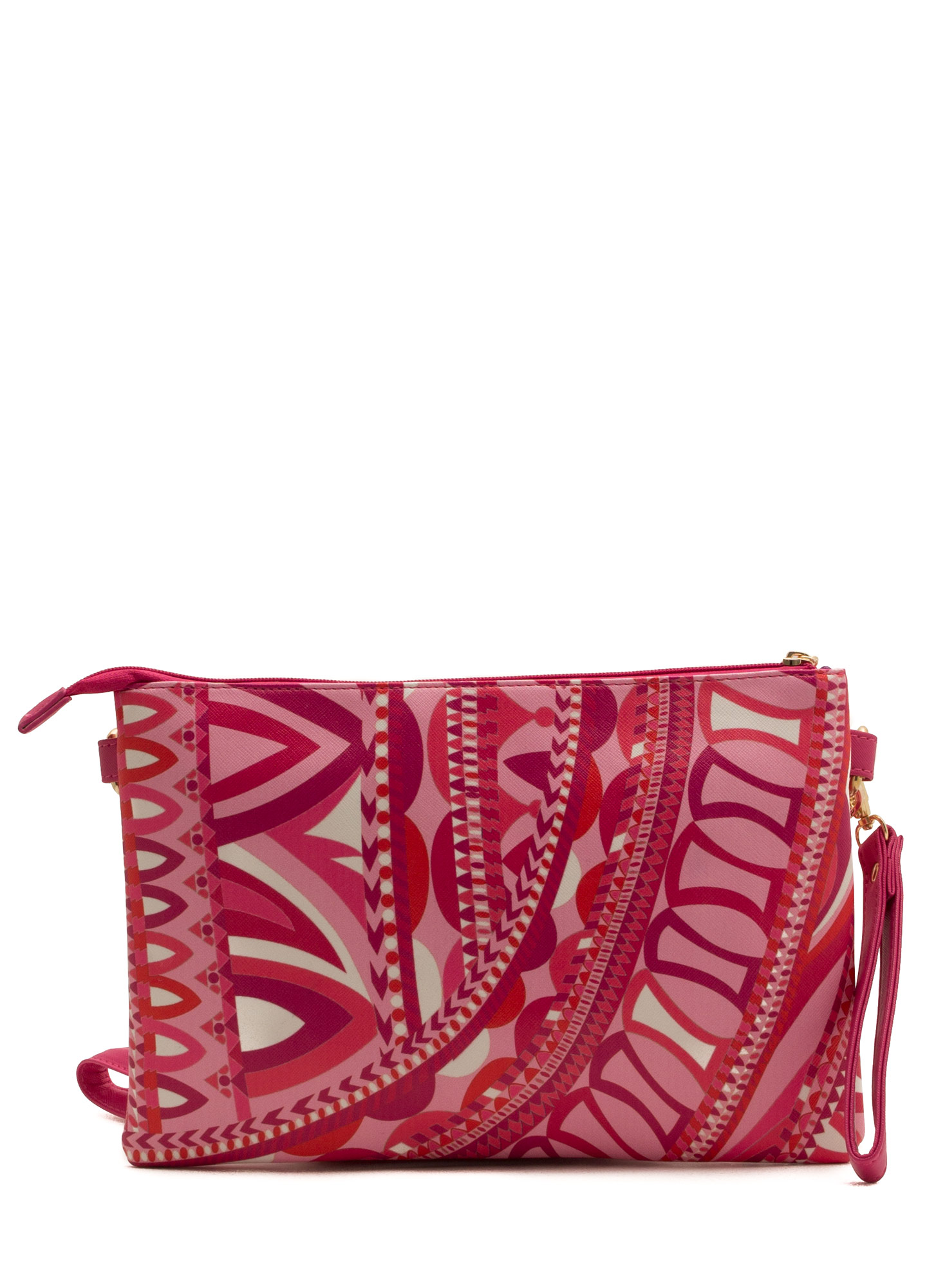 Contrasting Patterned Clutch PINKWHITE