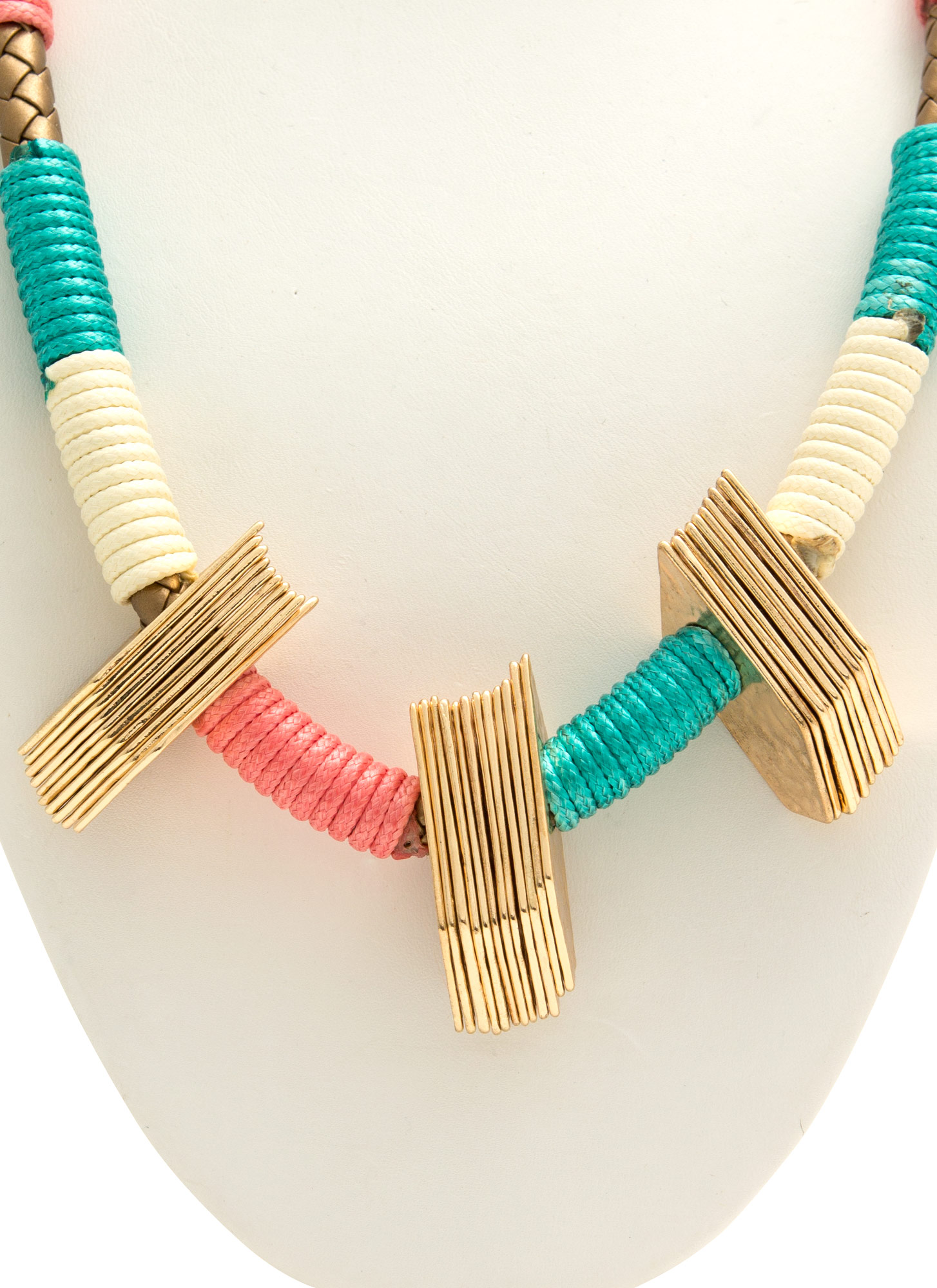 Cord Wrapped Metal Accent Necklace CORALMULTI