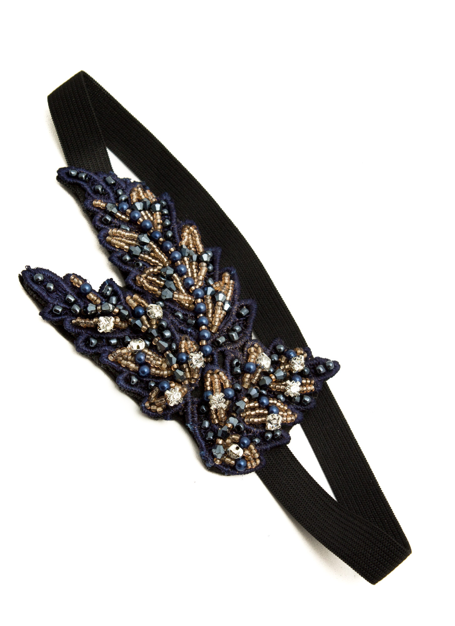 Beaded Leaves Headband BLACKNAVY