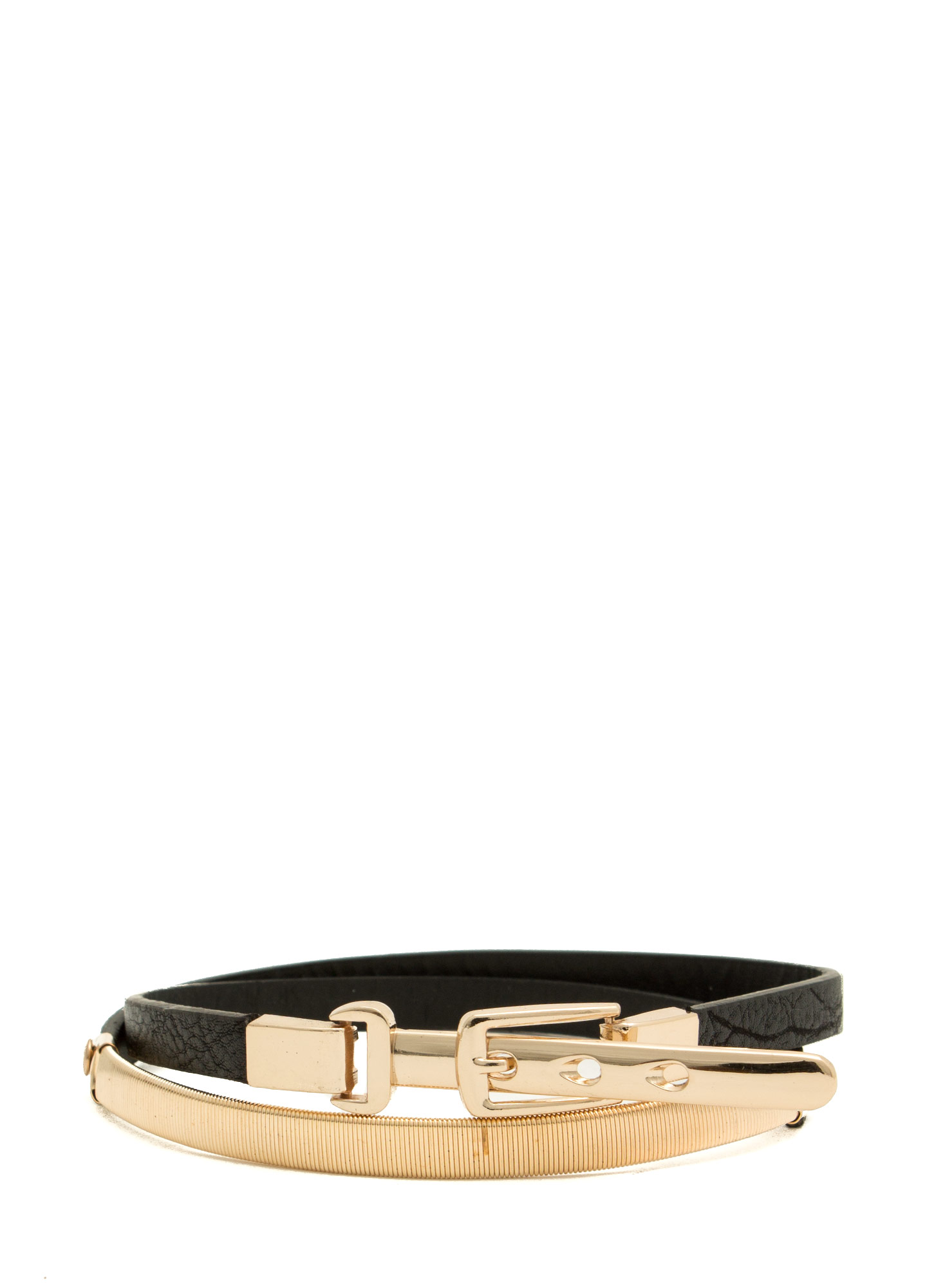 Metallic Accent Skinny Belt BLACKGOLD