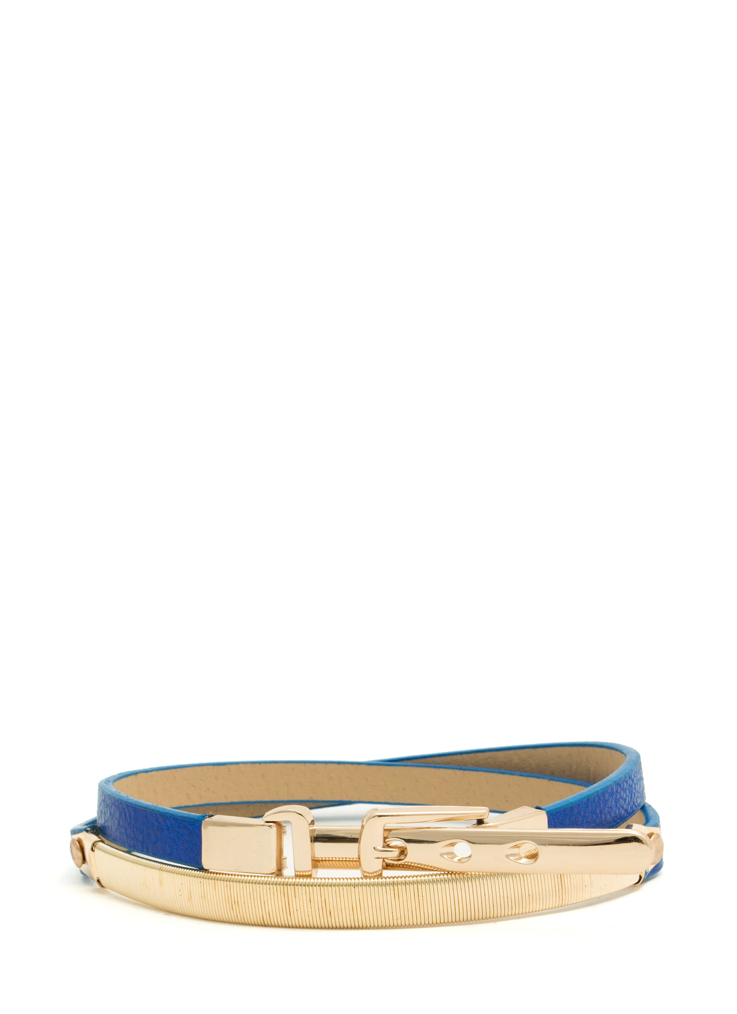 Metallic Accent Skinny Belt ROYALGOLD