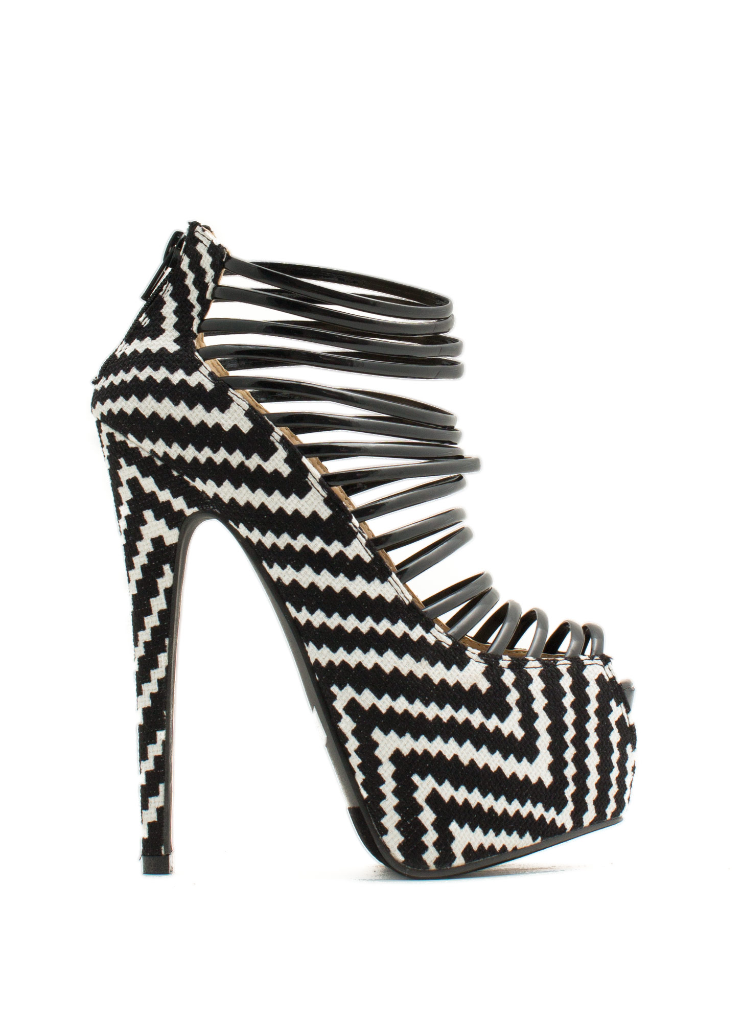 Weave It Here Strappy Platform Heels BLACKWHITE