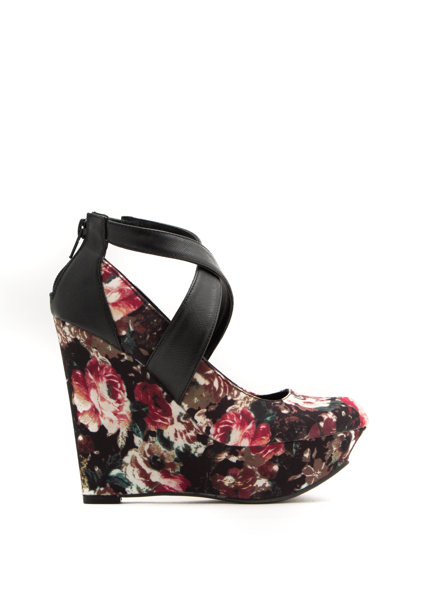 Crisscrossed Platform Wedges BLACKMULTI