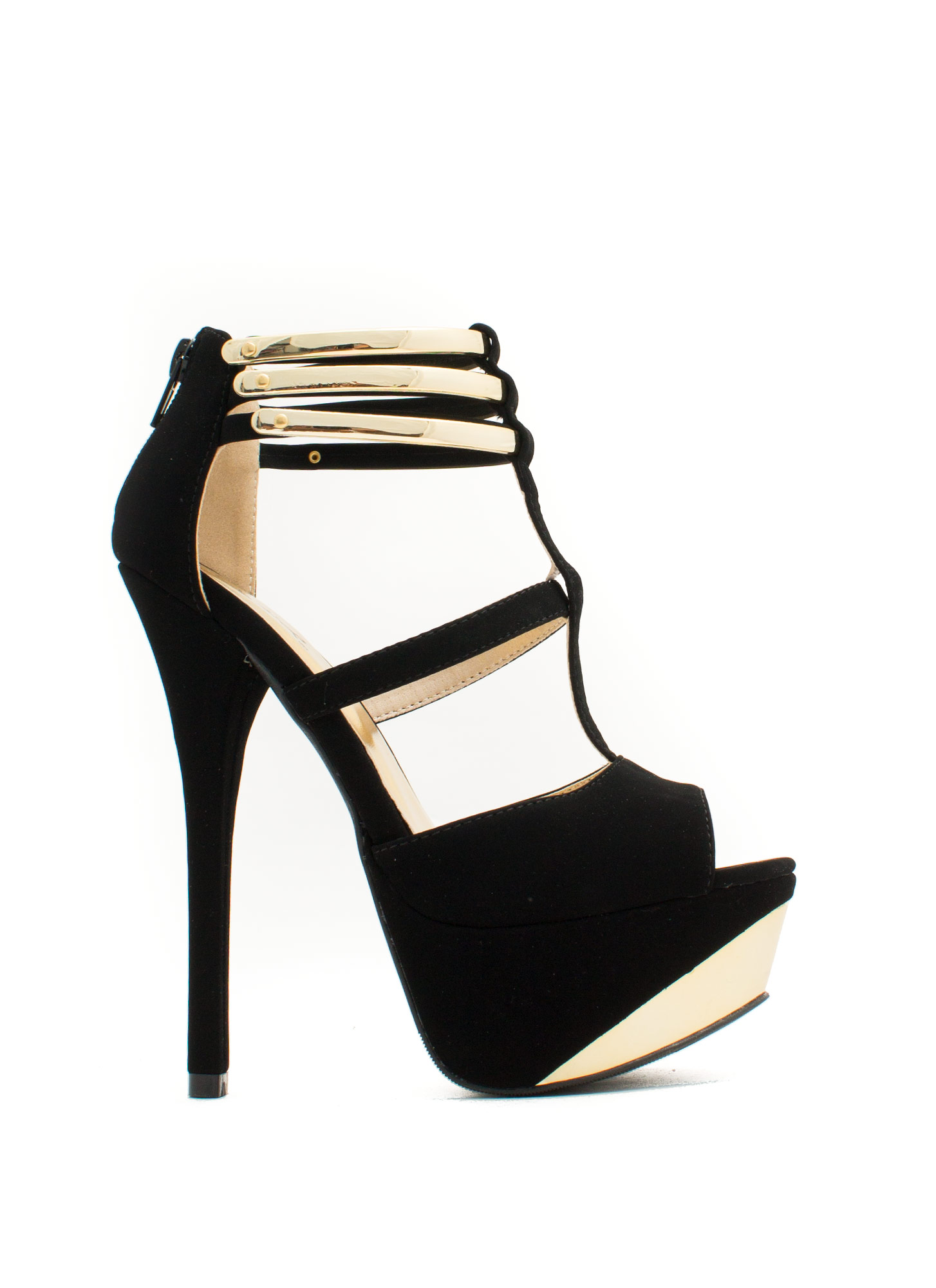 Metallic Accent Cross Heels BLACK
