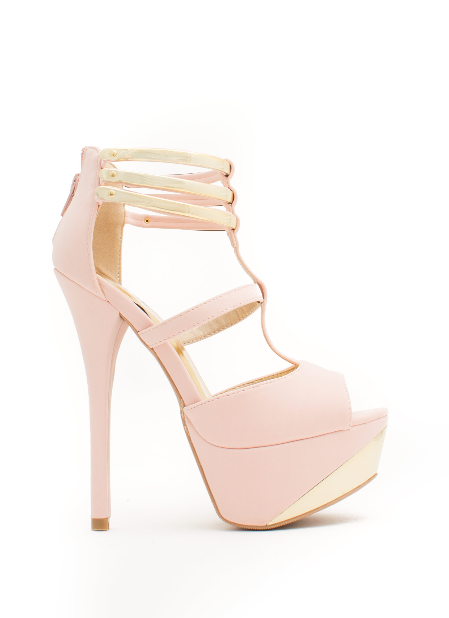 Metallic Accent Cross Heels BLUSH