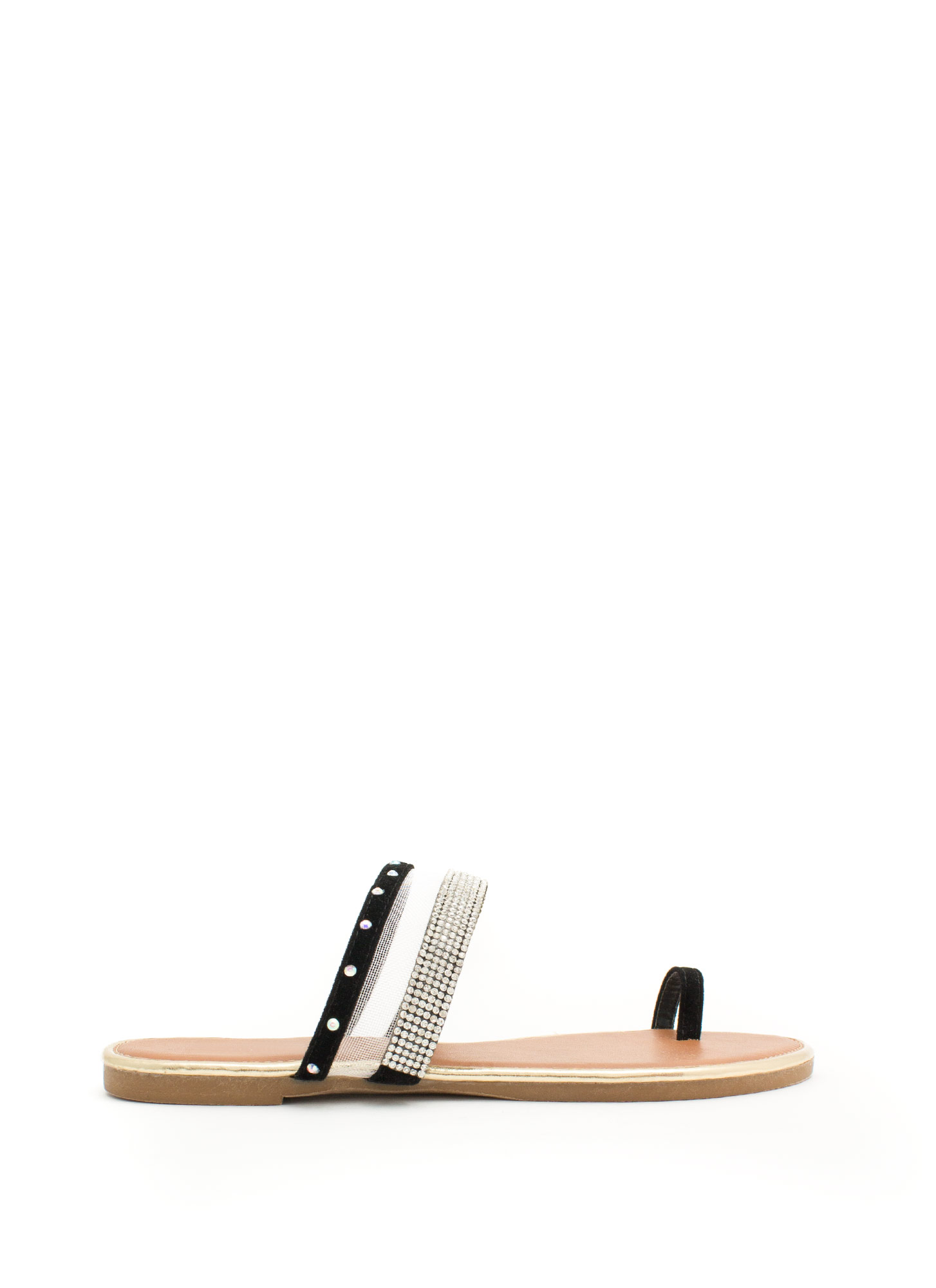 Bejeweled Mesh Inset Slide Sandals BLACK