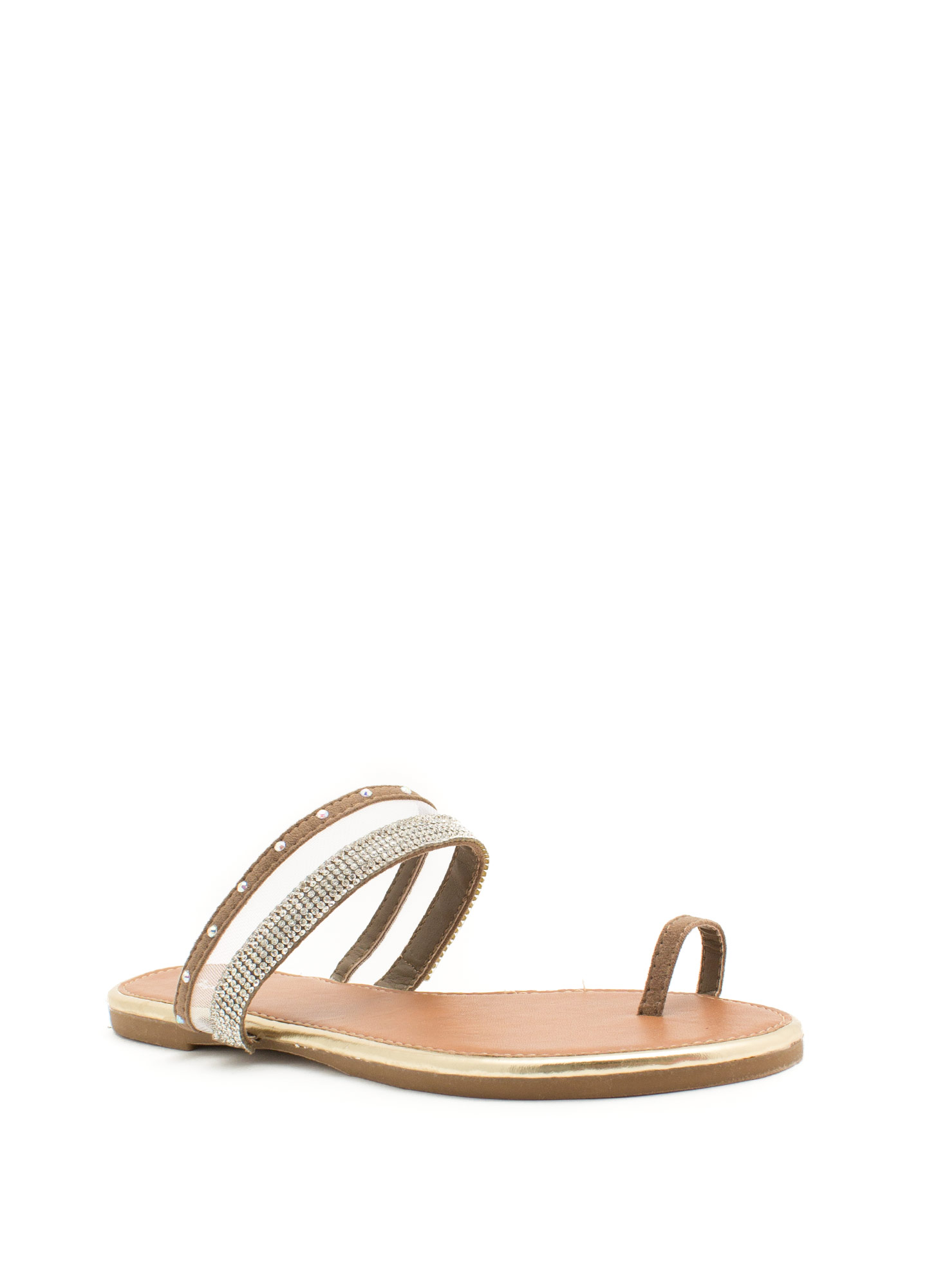 Bejeweled Mesh Inset Slide Sandals TAUPE