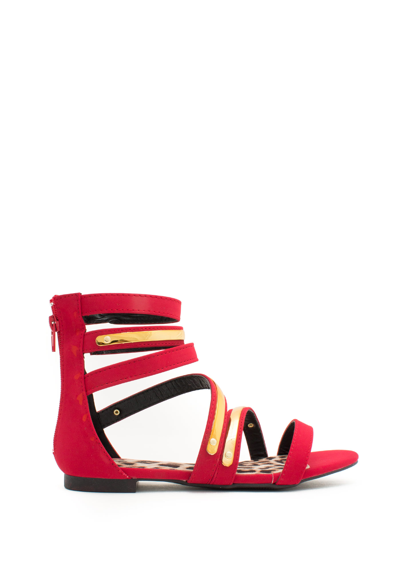 Metallic Accent Gladiator Sandals DARKRED