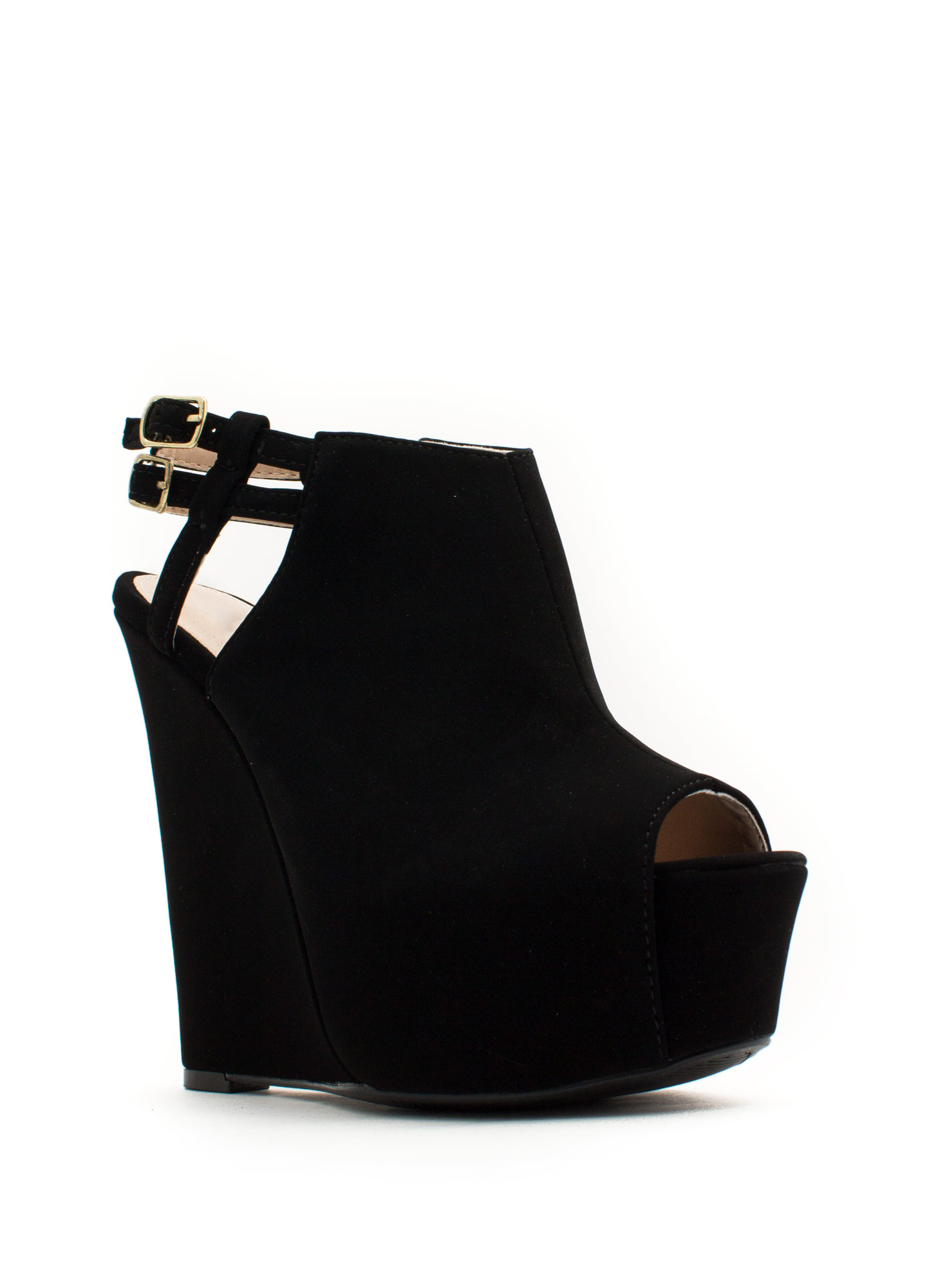 Strappy Back Platform Wedges BLACK