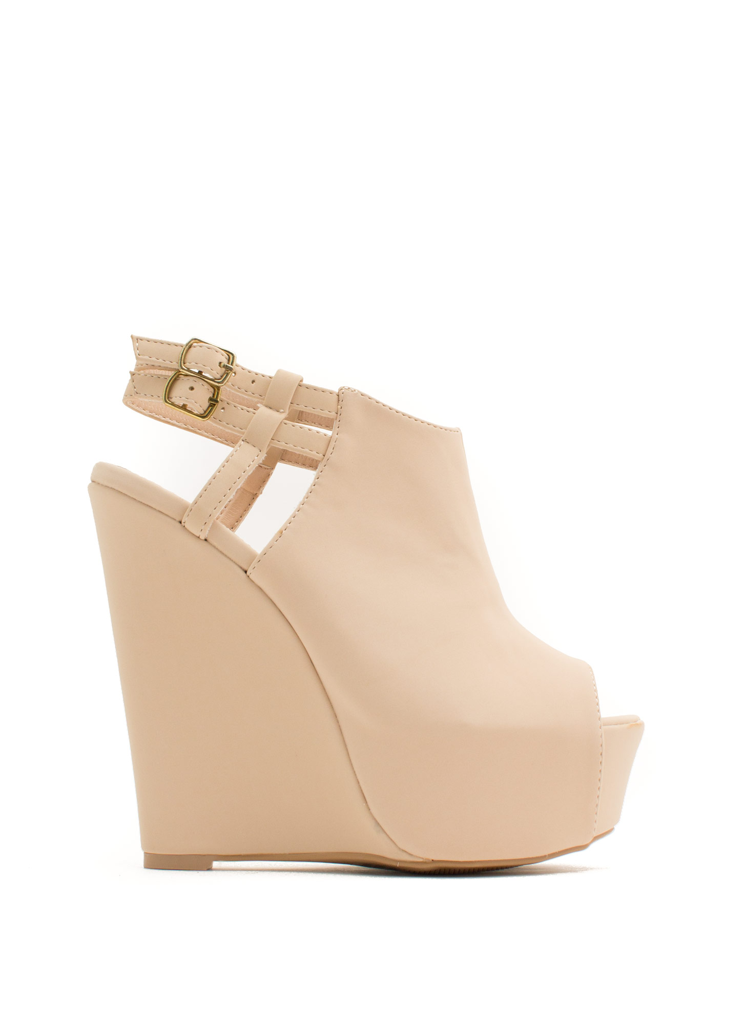 Strappy Back Platform Wedges NUDE