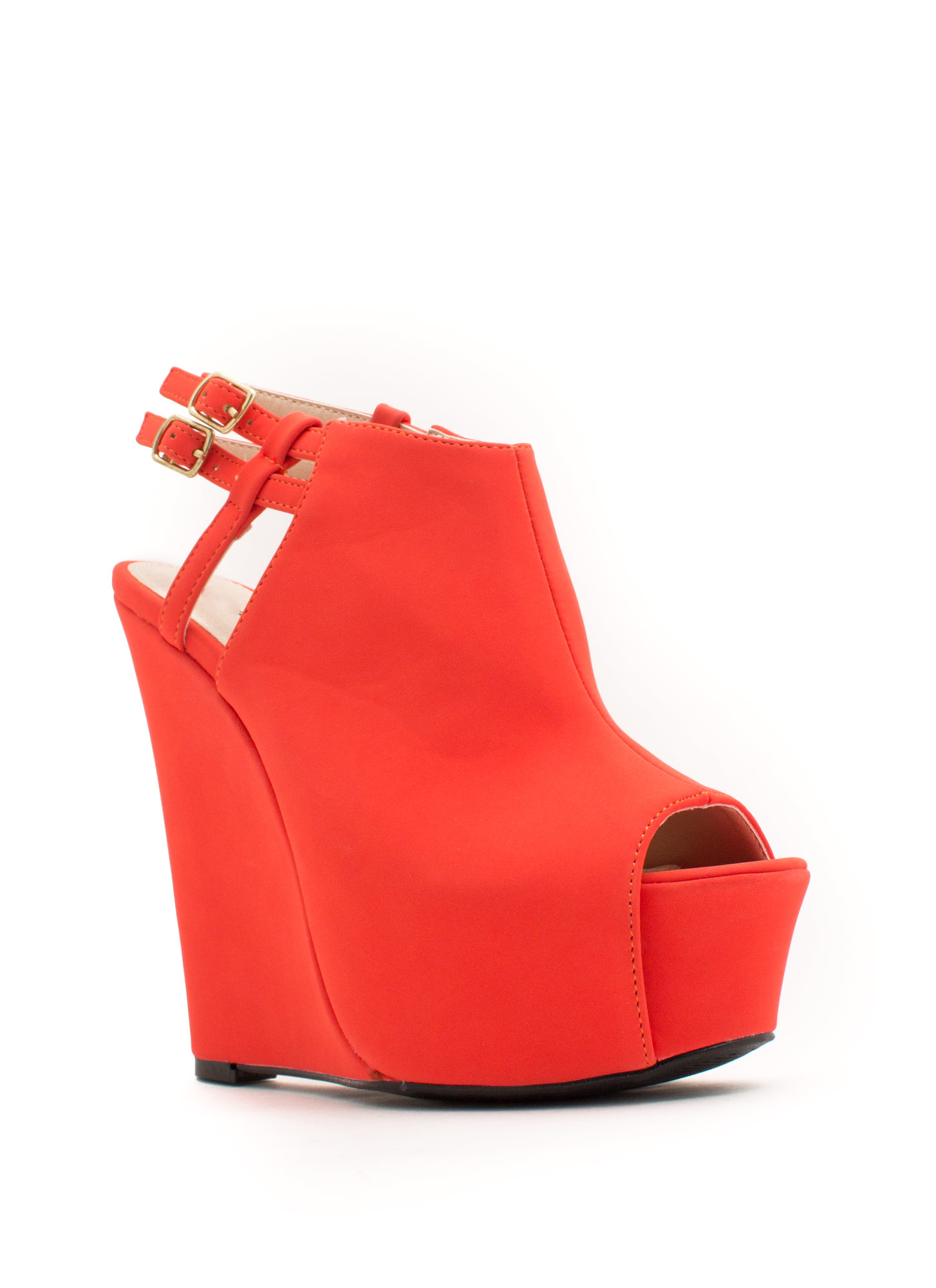 Strappy Back Platform Wedges TANGERINE