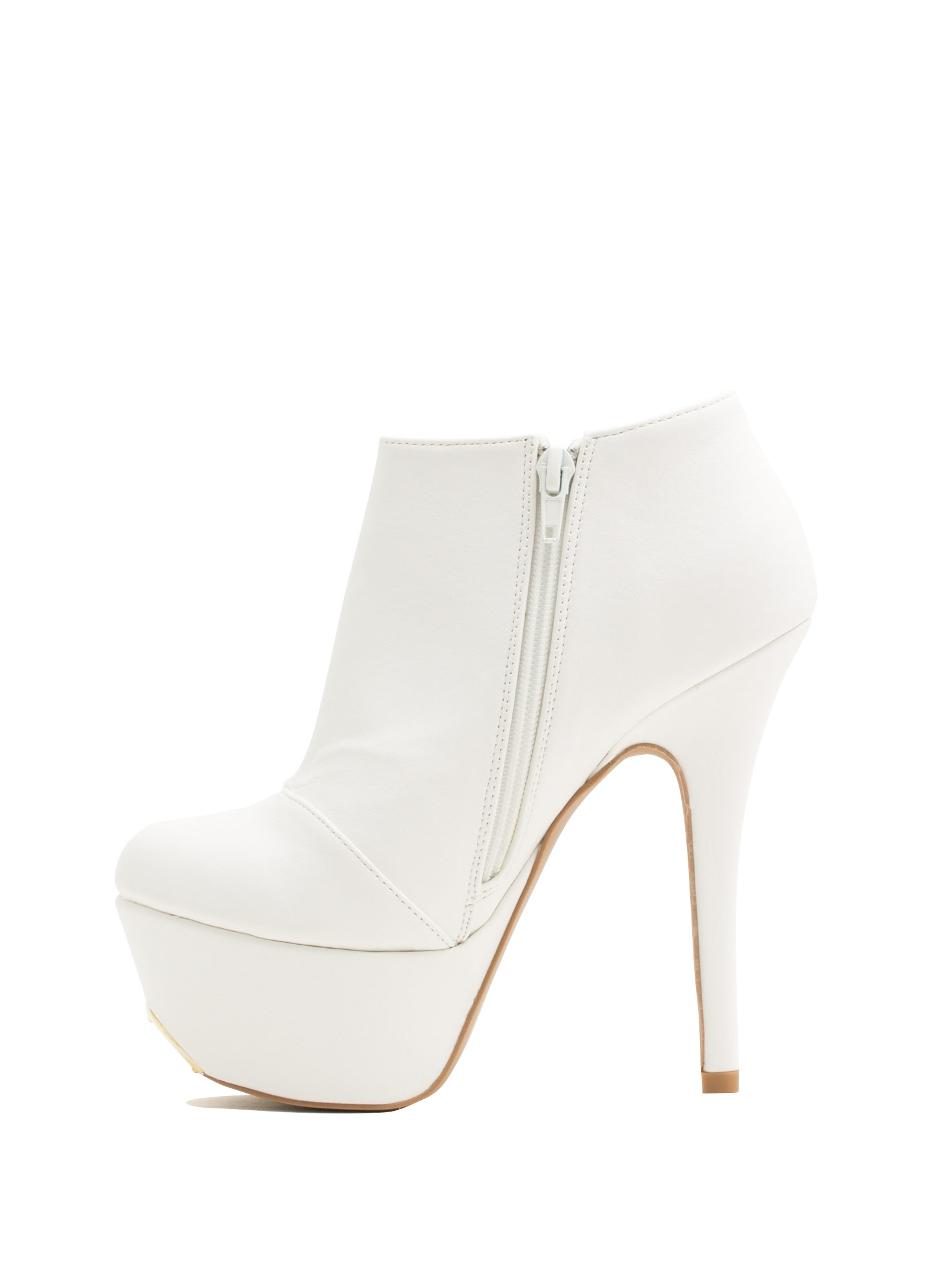 Battle Of Slits Platform Heels WHITE