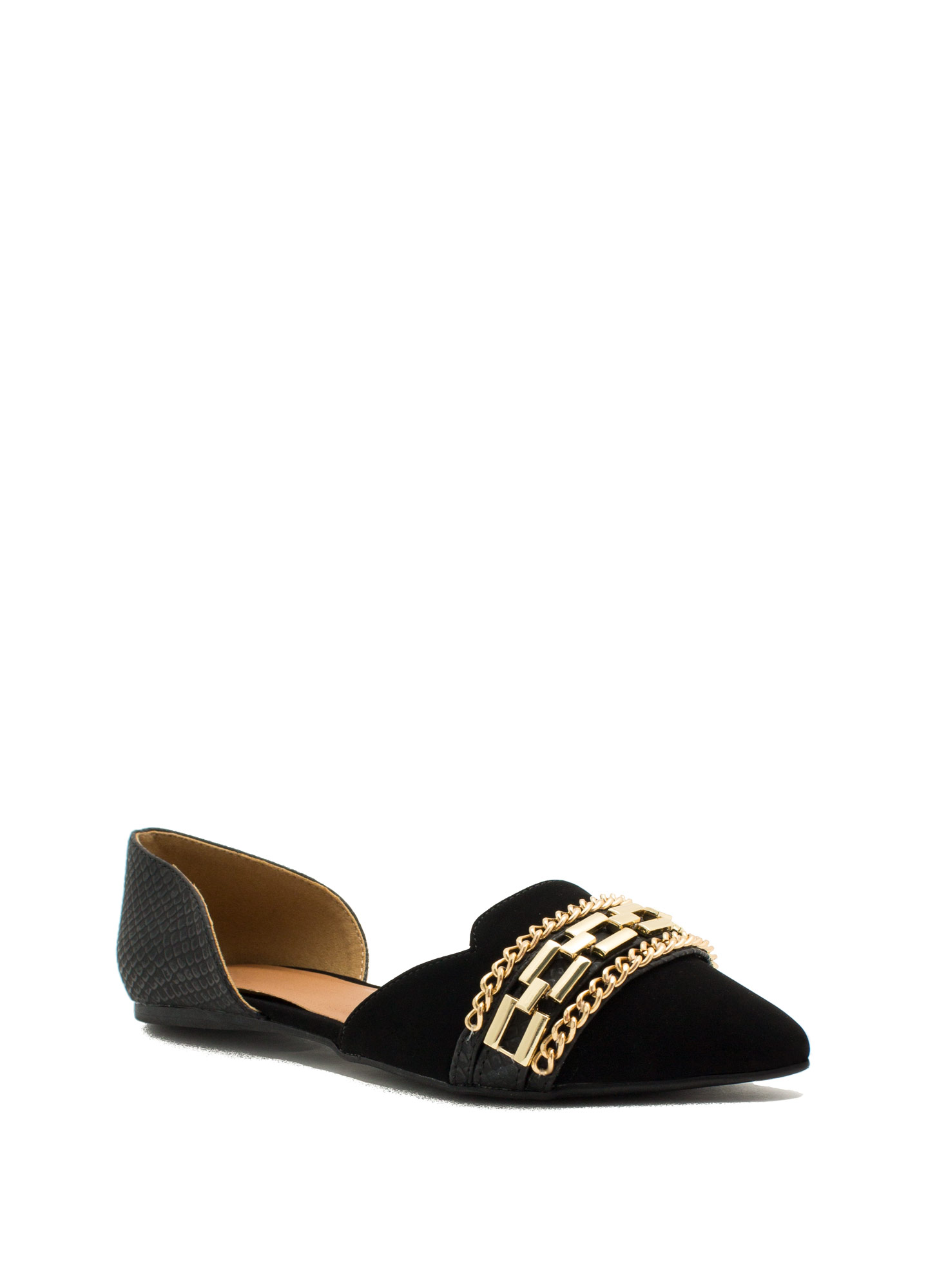 3 Chains D'Orsay Flats BLACK