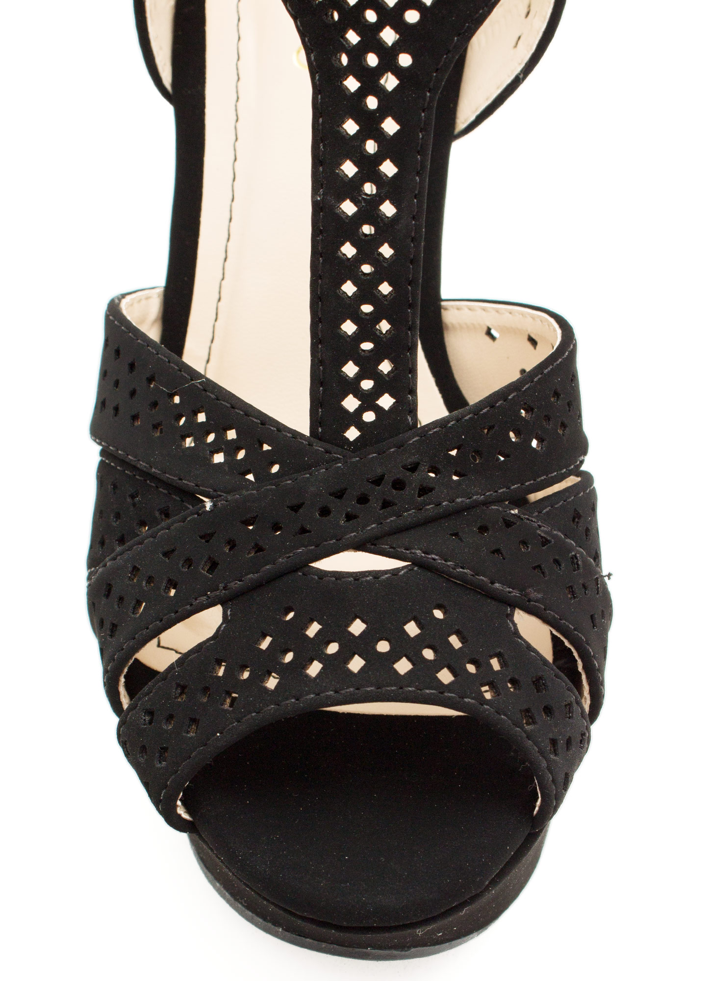 T-Time Faux Nubuck Wedges BLACK