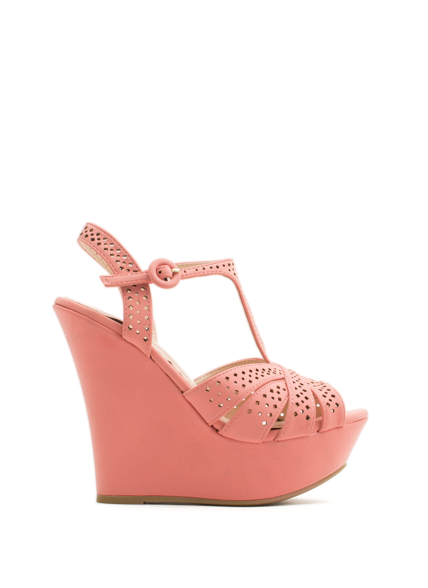 T-Time Faux Nubuck Wedges MELON