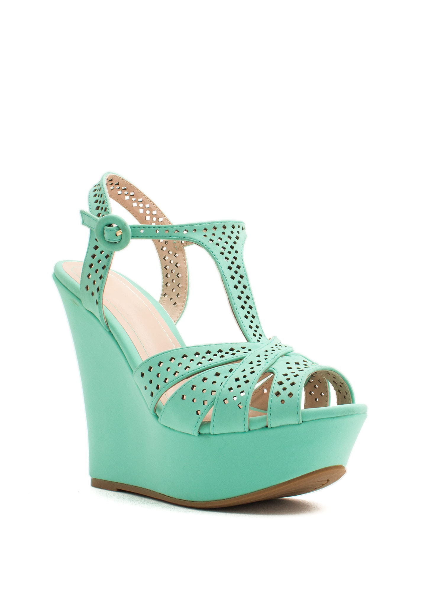 T-Time Faux Nubuck Wedges MINT