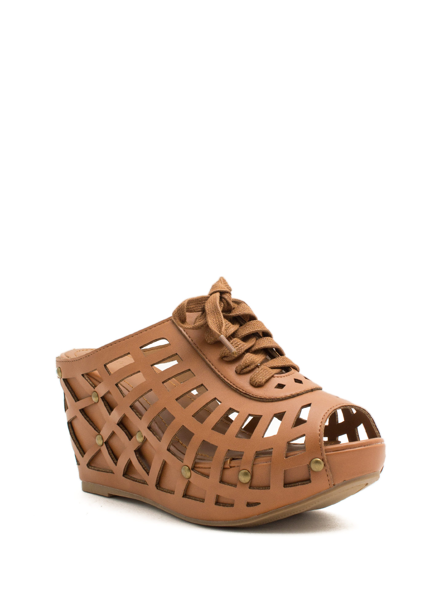 Laser Cut-Out 'N Lace-Up Slide Wedges NATURAL