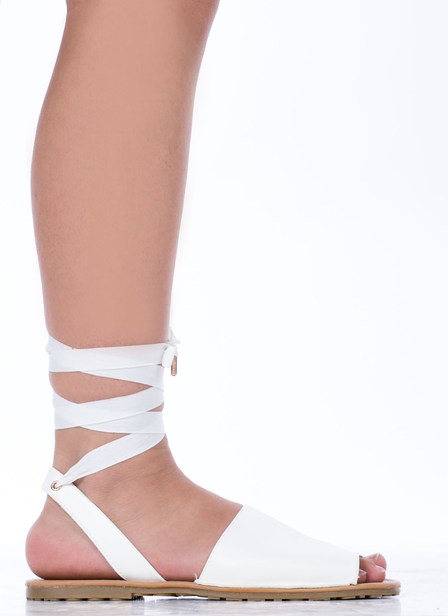 Wanderlust Faux Leather Sandals WHITE