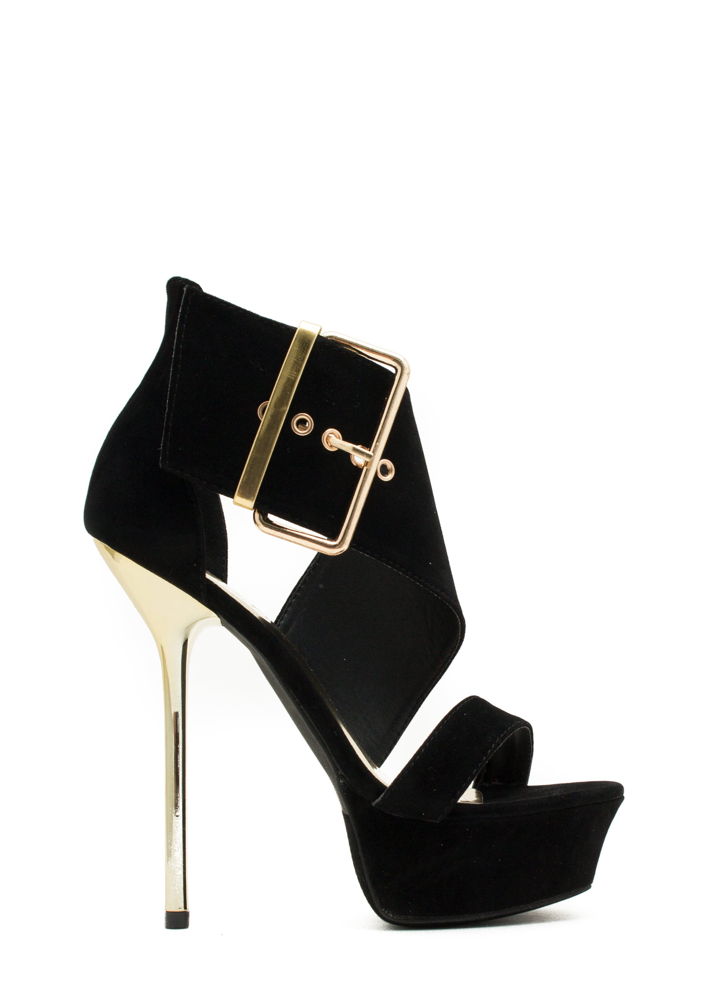 It's A Wrap Big Buckle Platform Heels BLACK