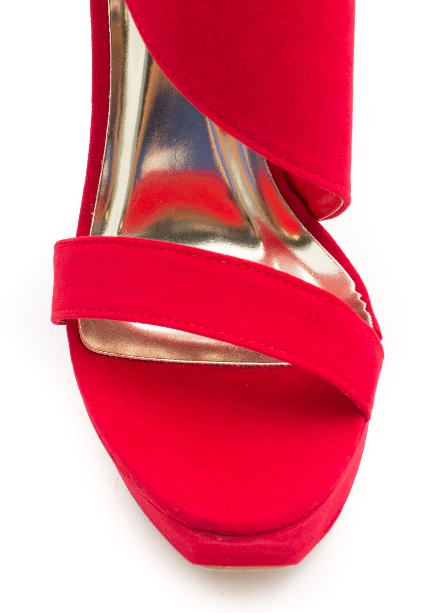 It's A Wrap Big Buckle Platform Heels RED