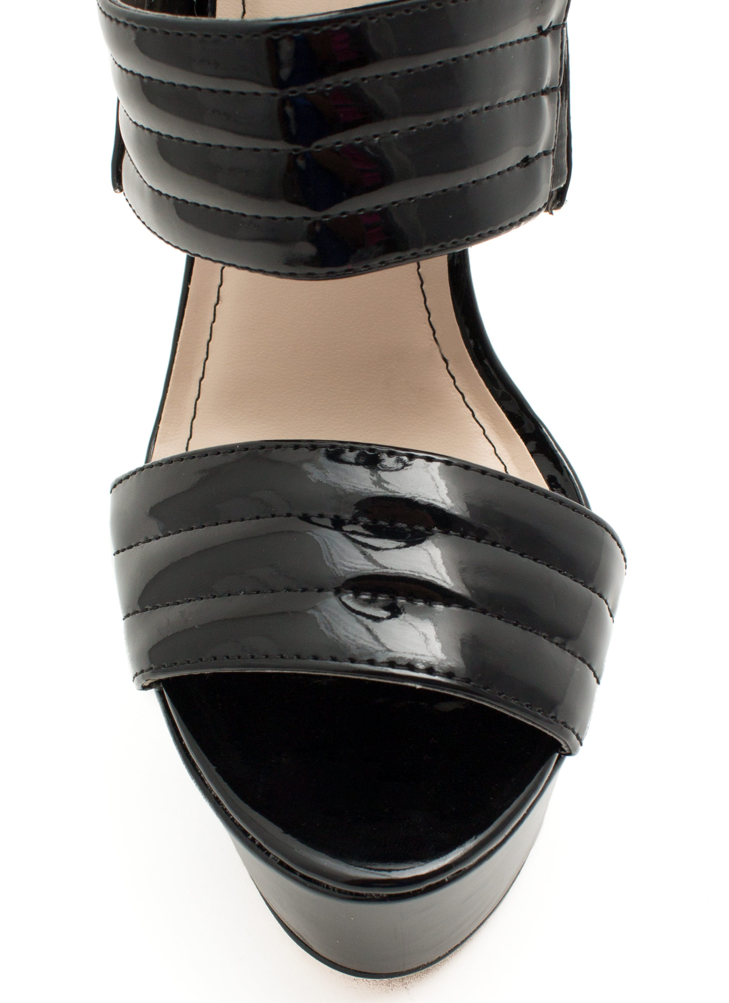 Triple Shot Faux Patent Leather Heels BLACK
