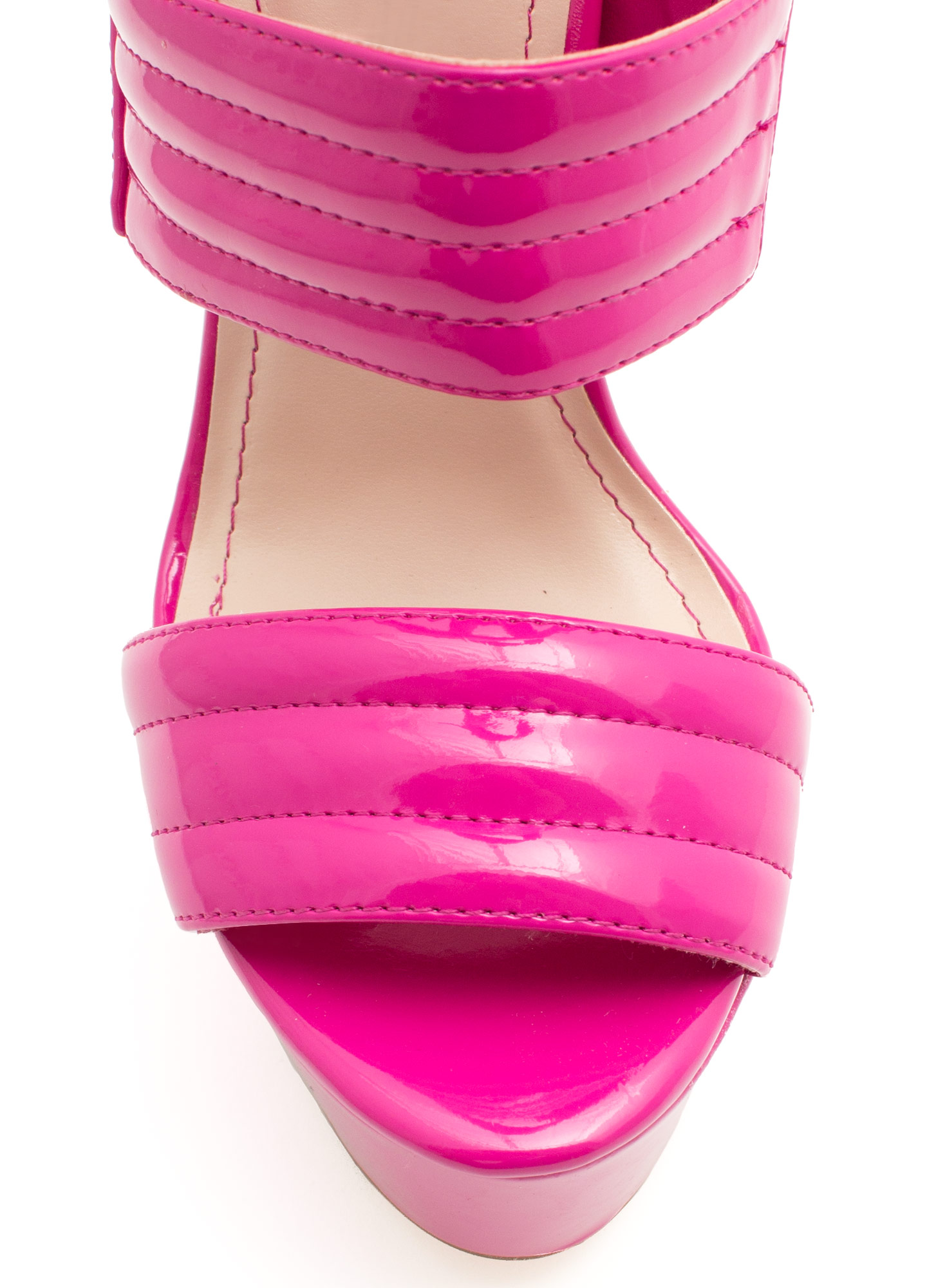 Triple Shot Faux Patent Leather Heels FUCHSIA
