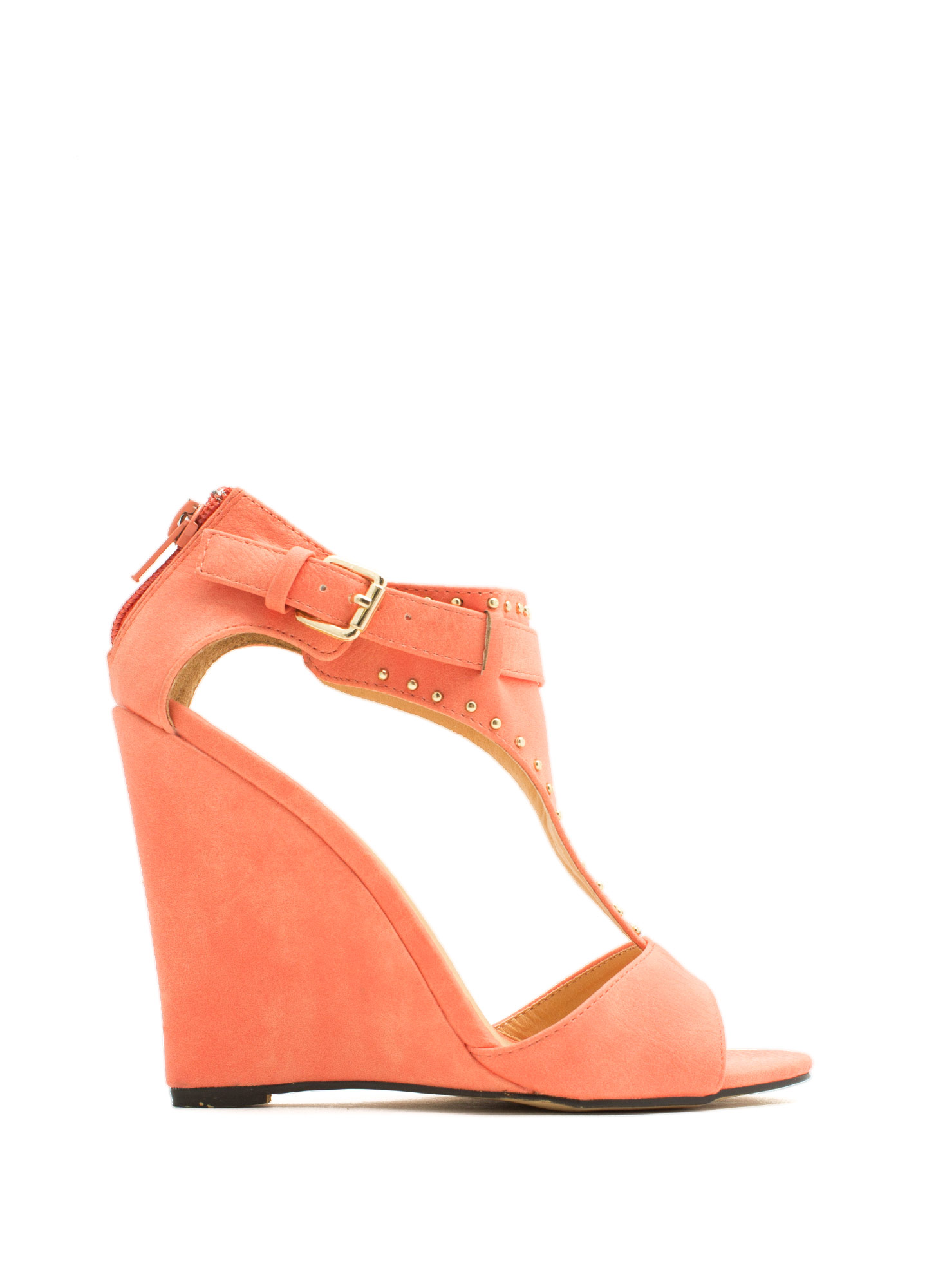 On The Dotted Line Studded Wedges CORAL