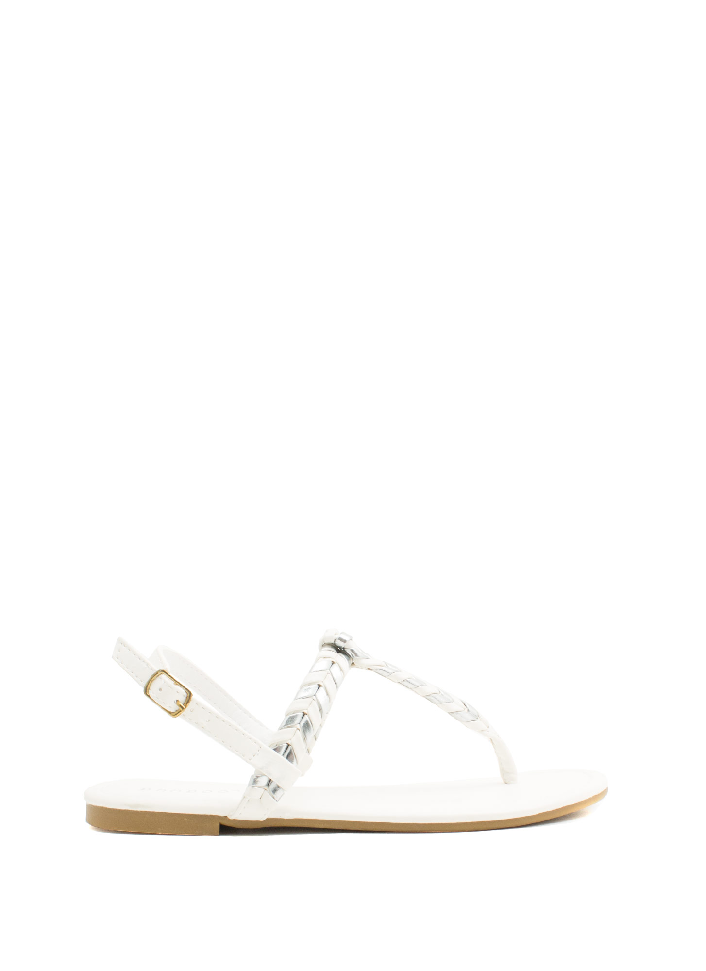 Weave A Comment T-Strap Sandals WHITESLVR