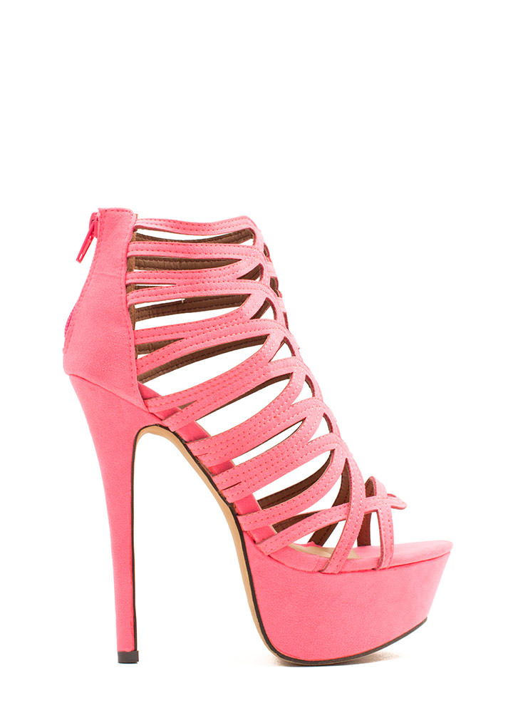 Winding Roads Strappy Caged Platforms PINK