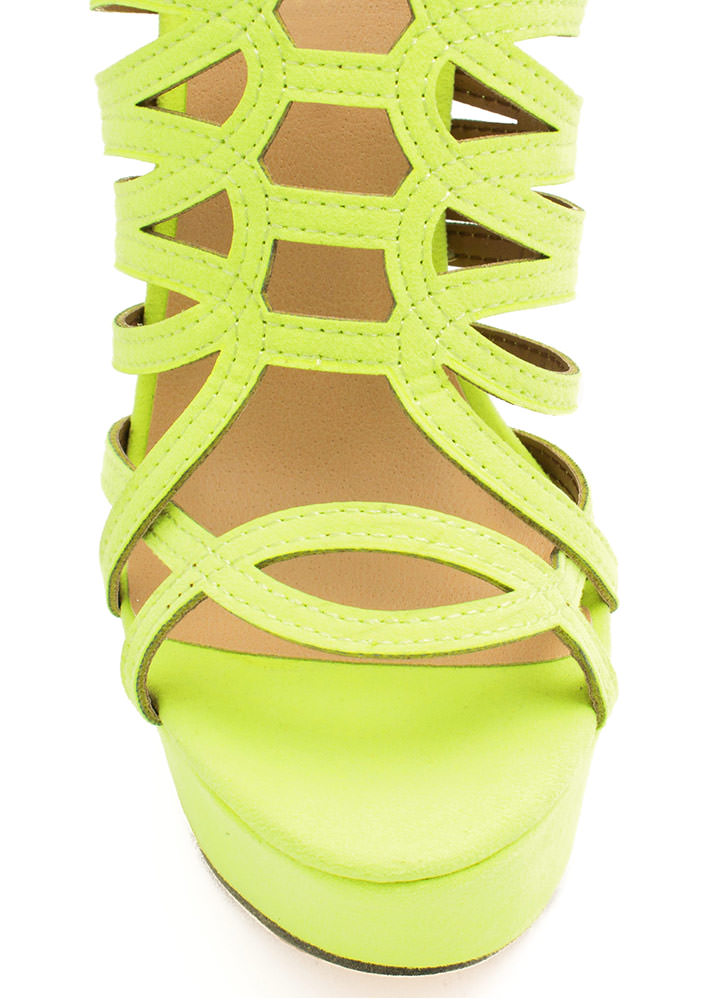 Winding Roads Strappy Caged Platforms YELLOW