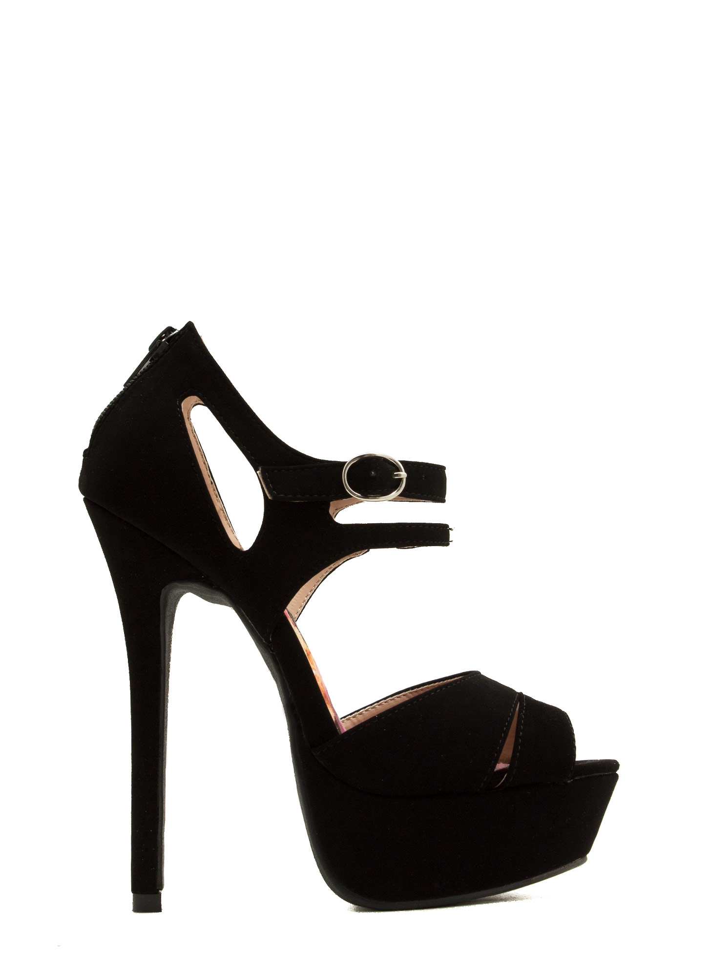 Strap Up Peep-Toe Heels BLACK