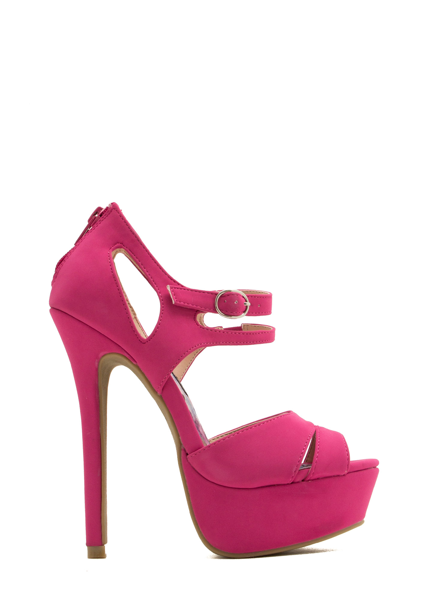 Strap Up Peep-Toe Heels FUCHSIA