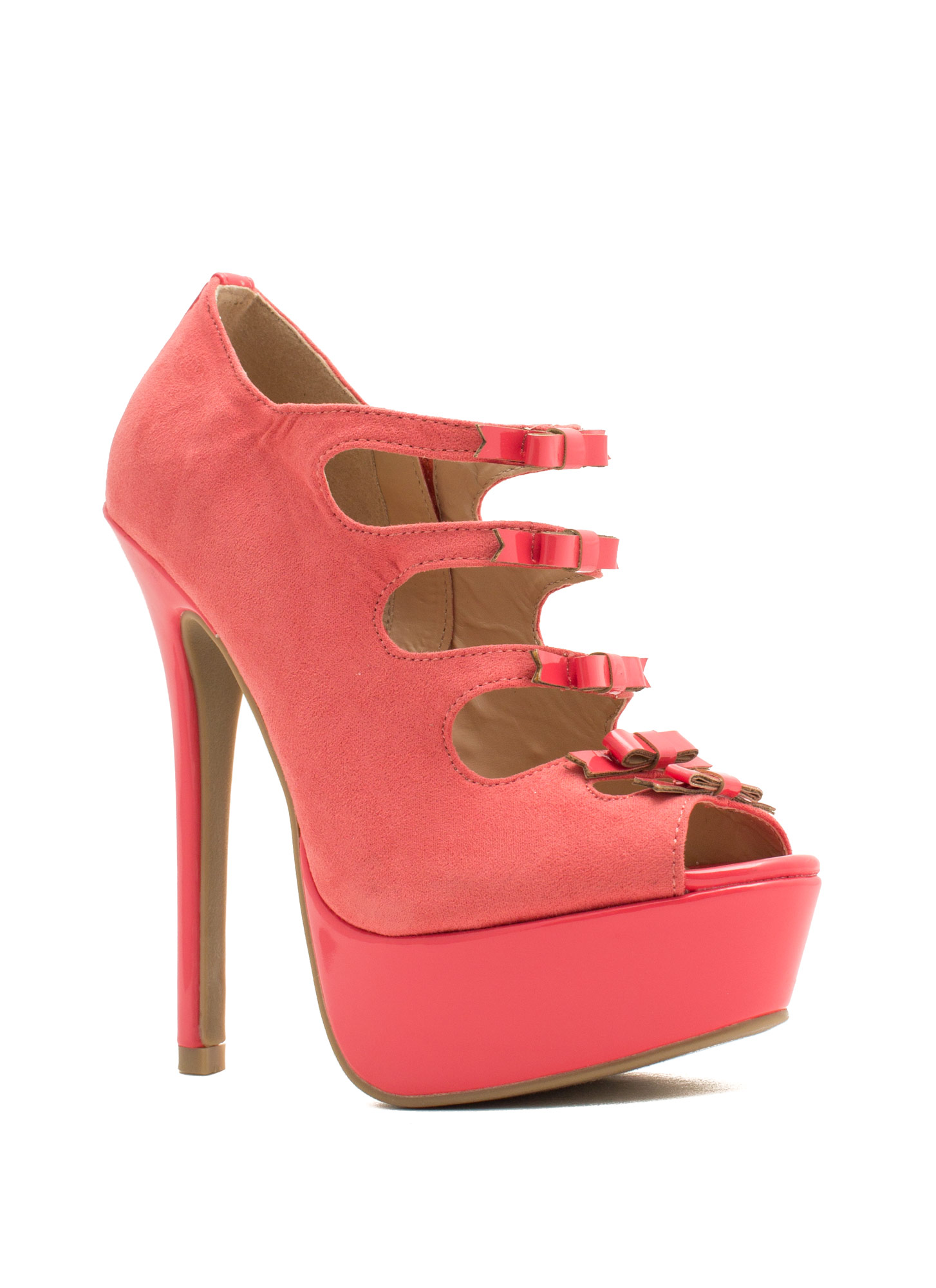 Bow Down Peep-Toe Heels CORAL