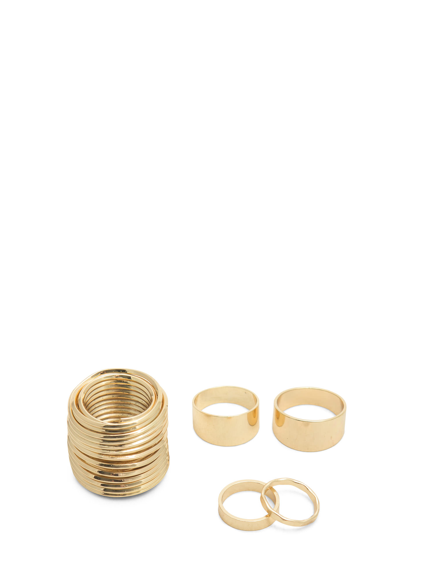 Metallic Coiled Ring Set GOLD