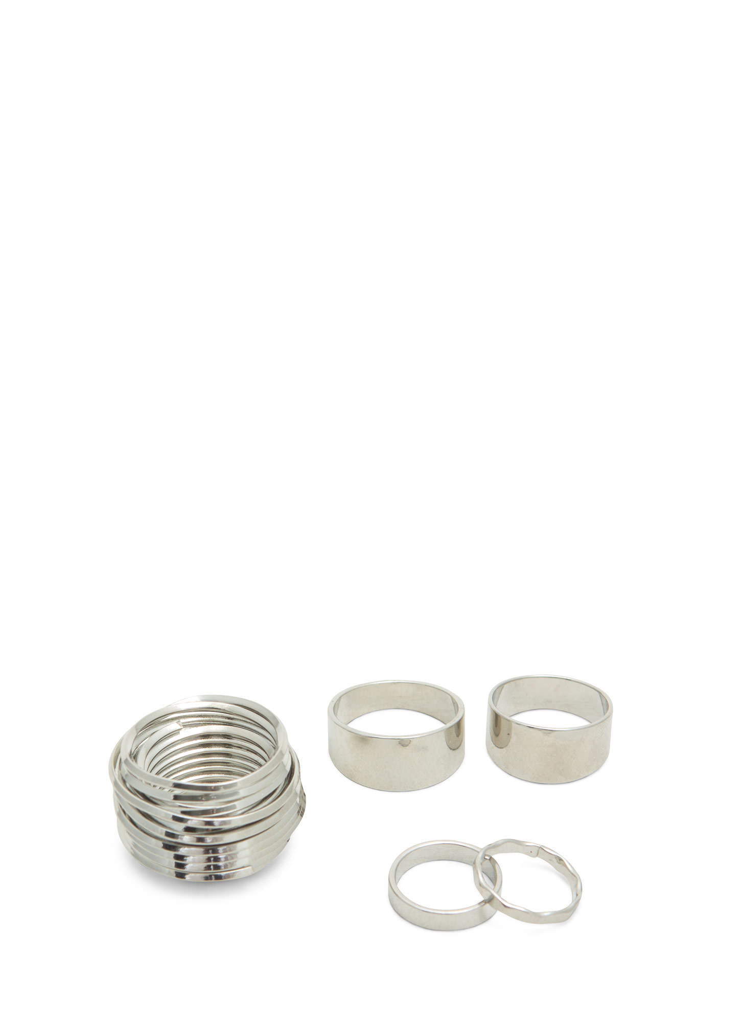 Metallic Coiled Ring Set SILVER