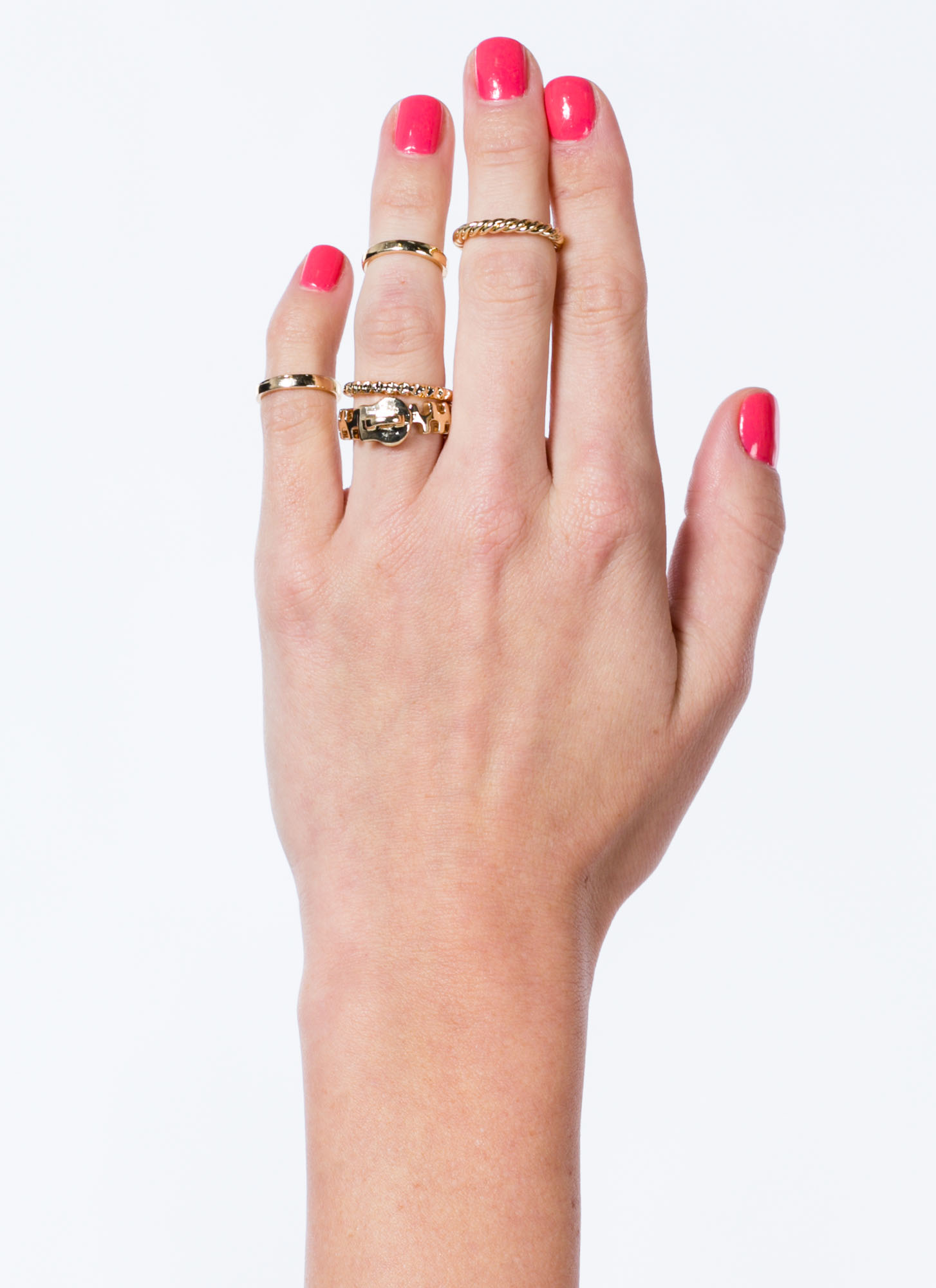 Metallic Zippered Ring Set GOLD